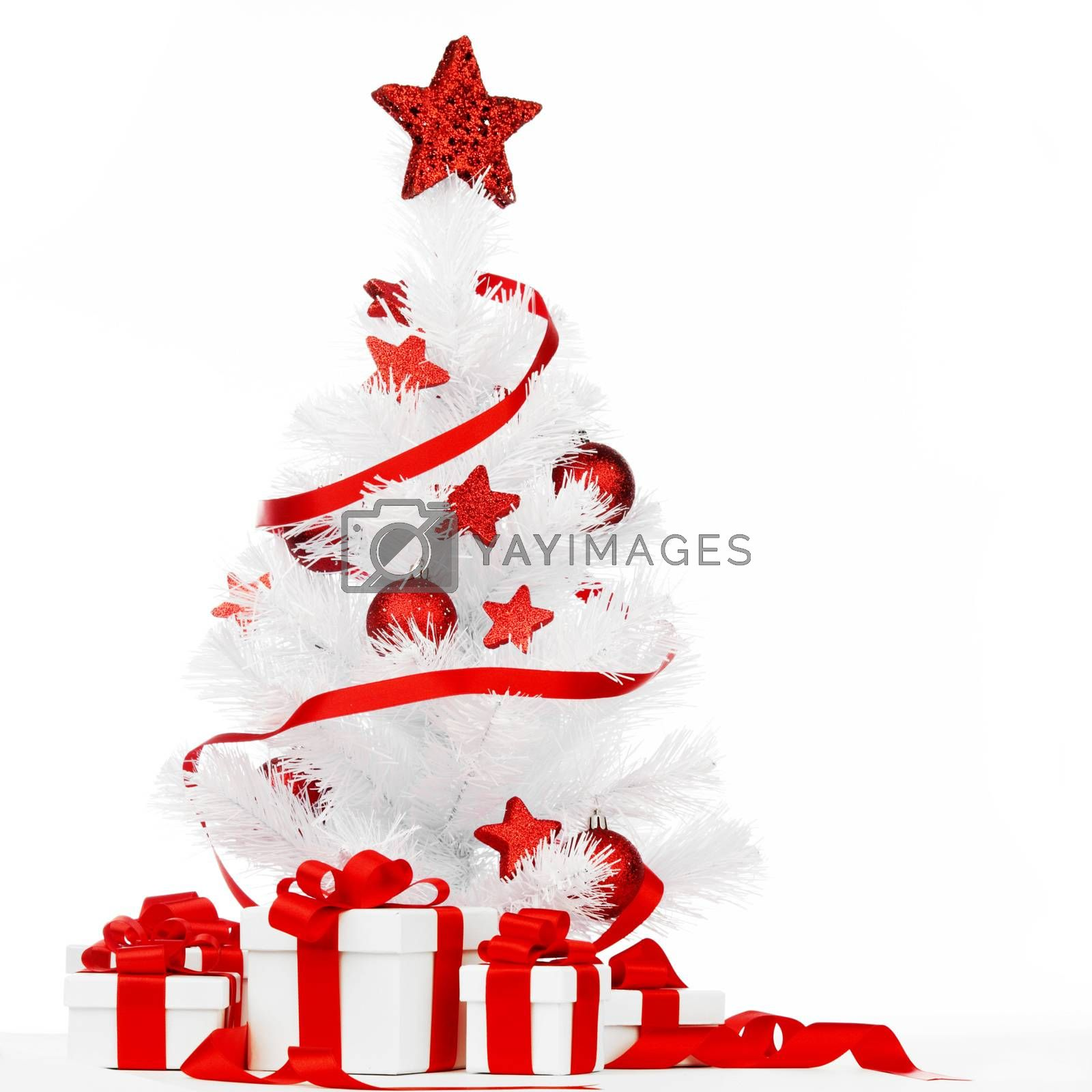 Royalty free image of Christmas tree with red decor by Yellowj