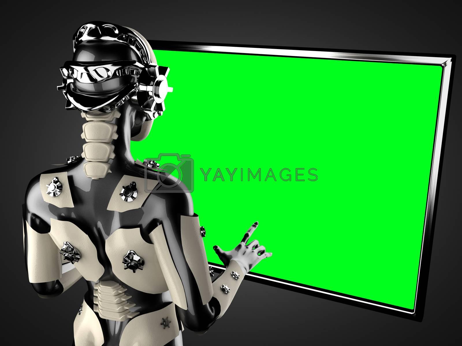 Royalty free image of robot woman manipulating hologram displey by videodoctor
