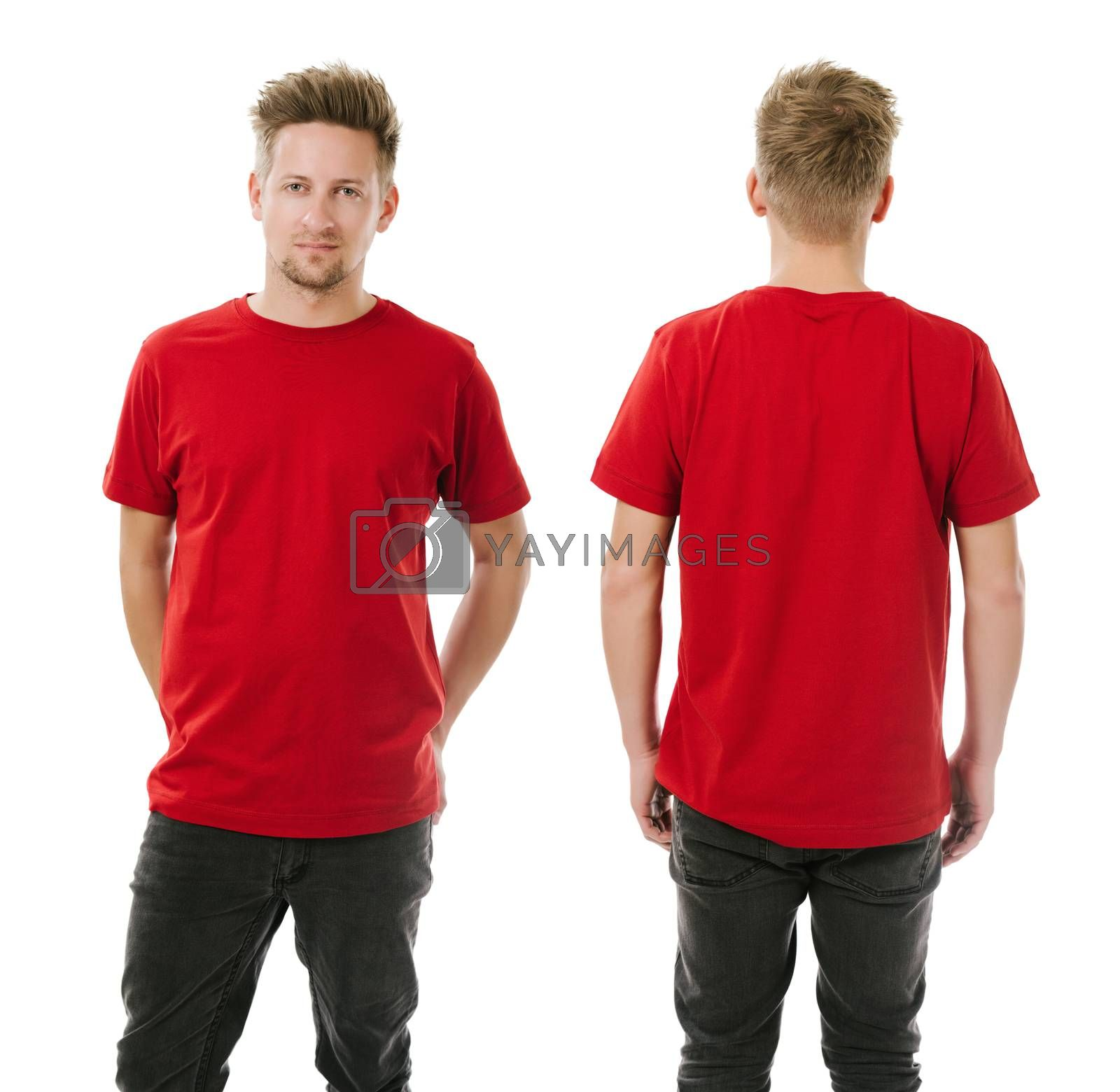 Royalty free image of Man posing with blank red shirt by sumners