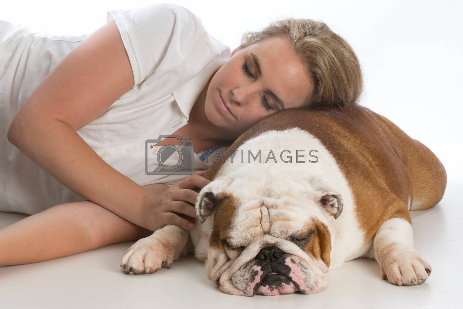 Royalty free image of woman and her dog by willeecole123