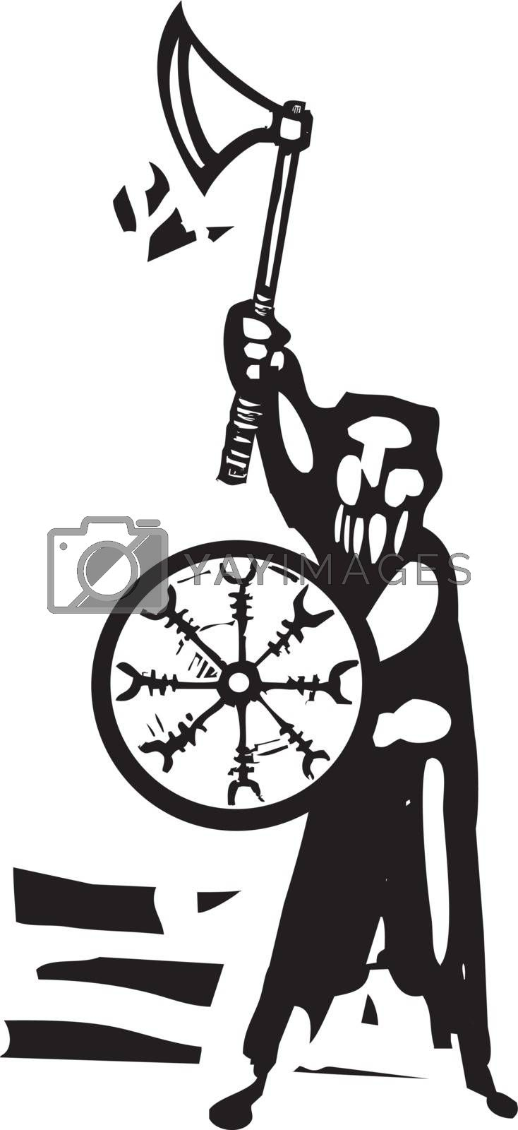 Woodcut style image of a Viking Warrior with a shield and ax.