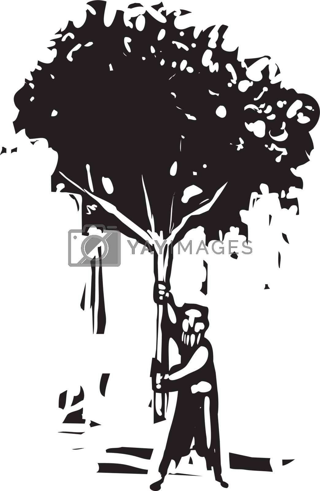 Woodcut style image of a bearded man carrying a small tree