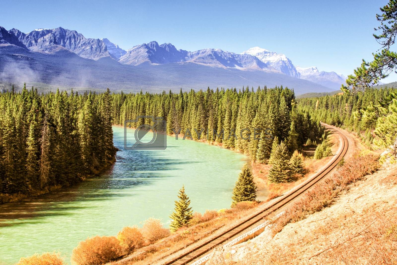 Royalty free image of River and railroad by betweenthecircles