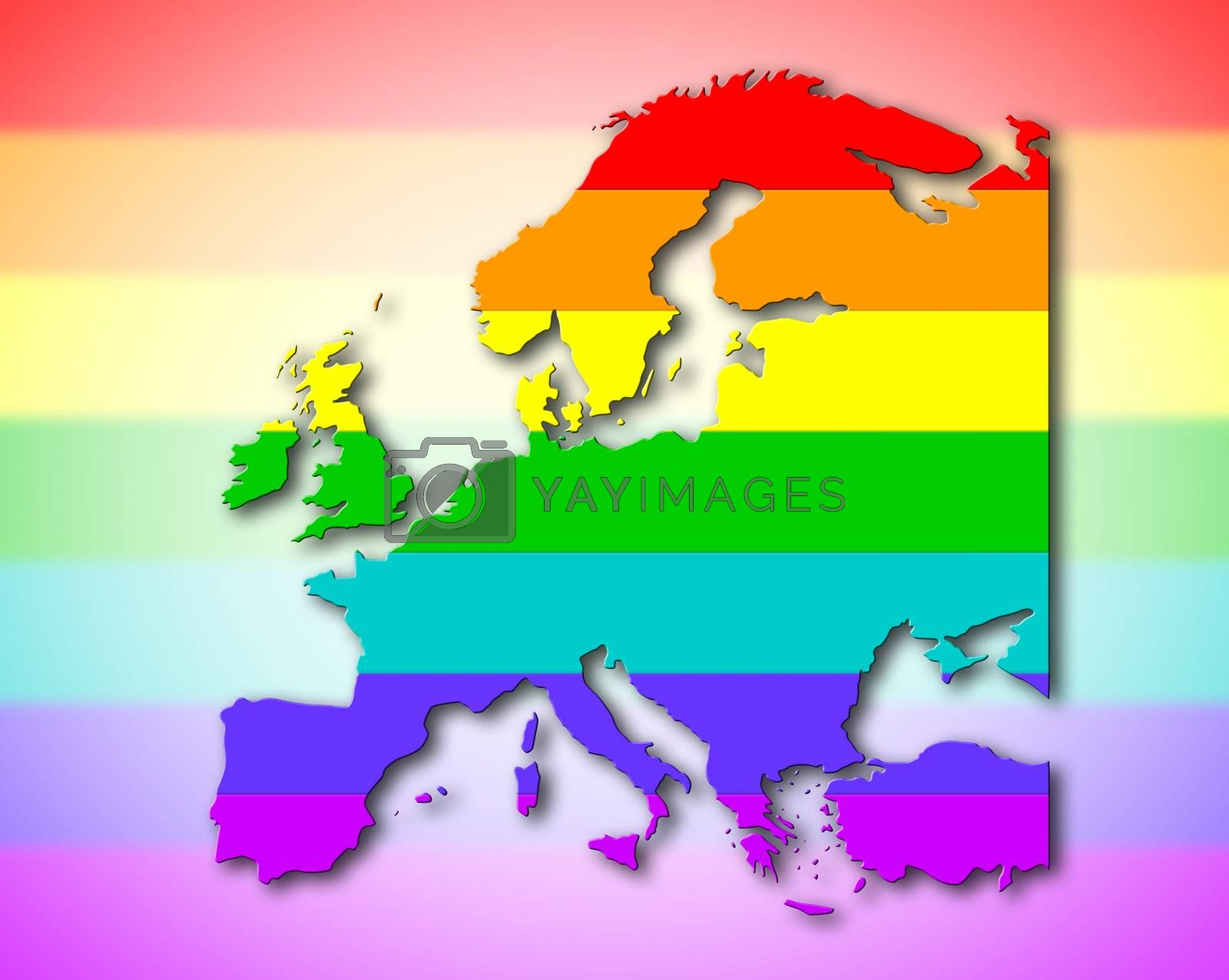 Royalty free image of Europe - Rainbow flag pattern by michaklootwijk