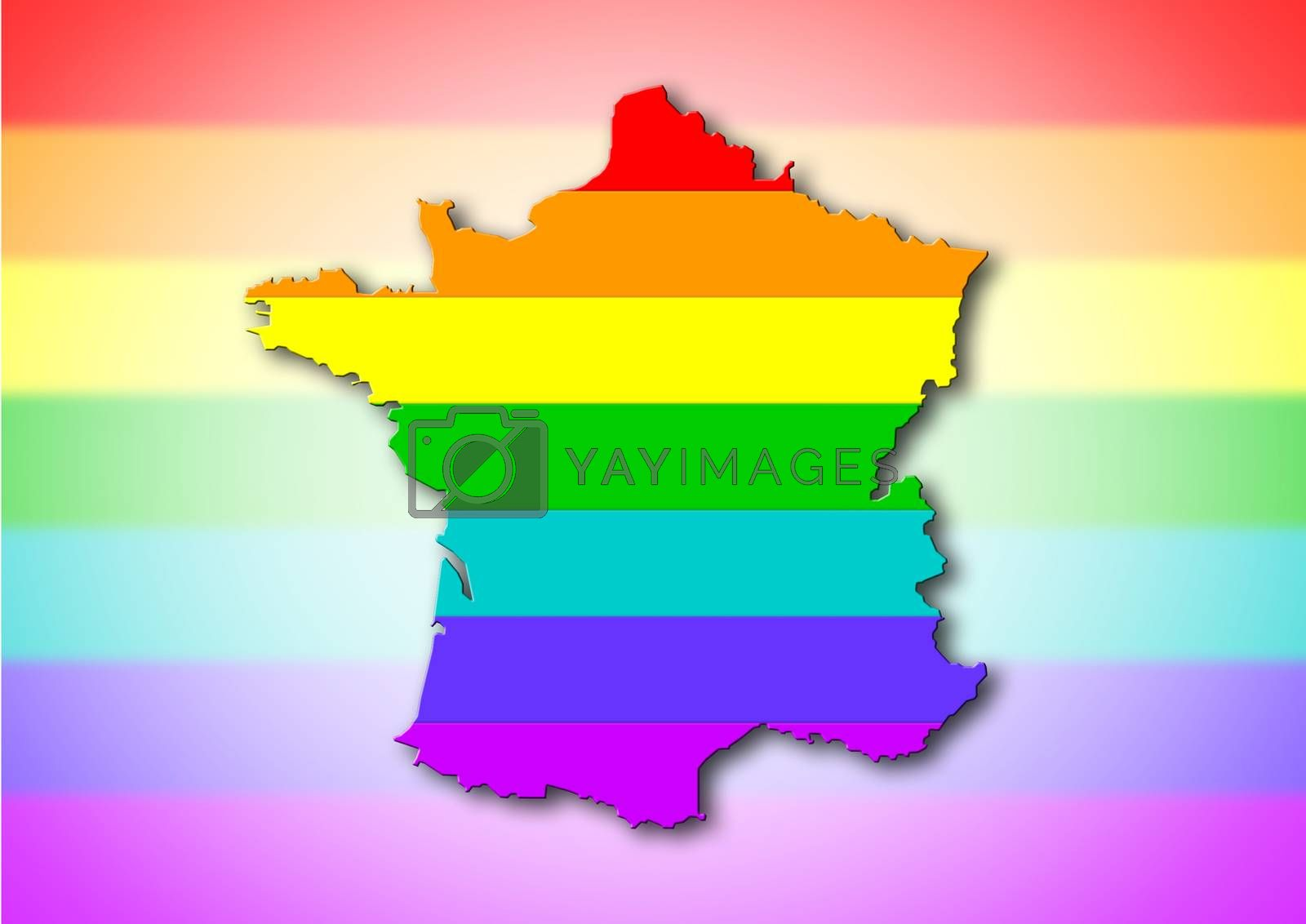Royalty free image of France - Rainbow flag pattern by michaklootwijk