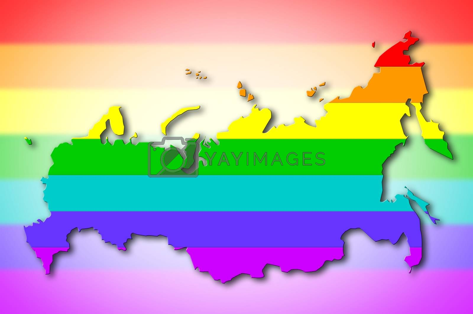 Royalty free image of Russia - Rainbow flag pattern by michaklootwijk
