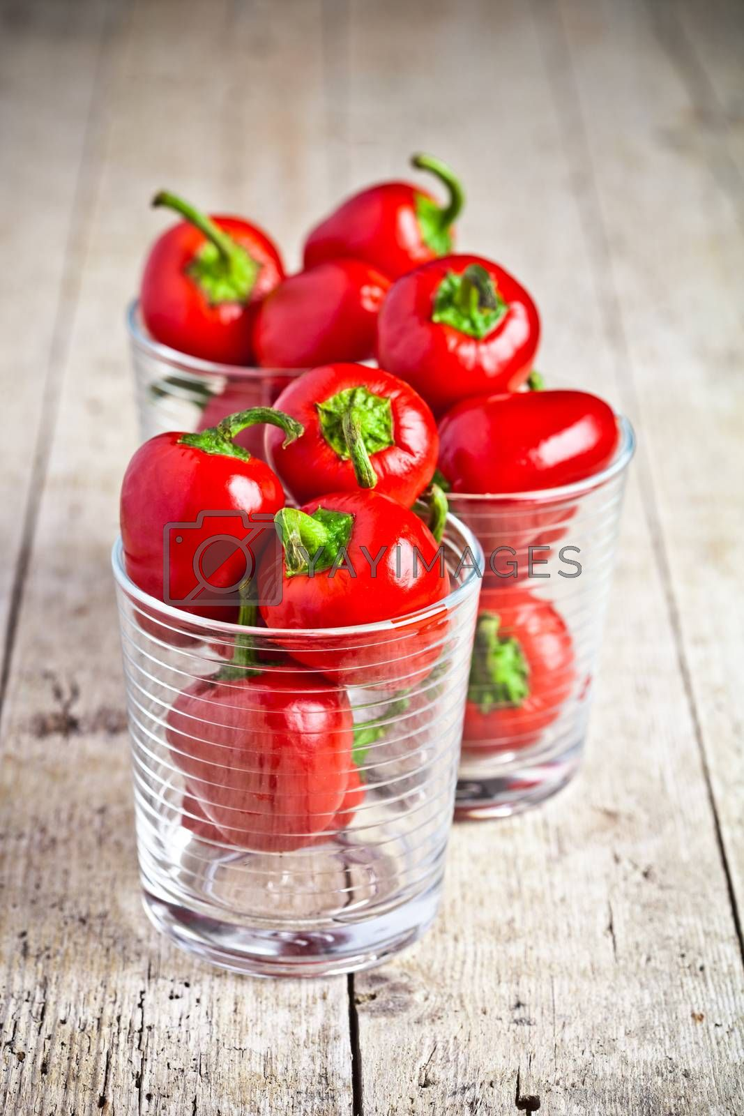 Royalty free image of red hot chilli peppers in glasses by marylooo