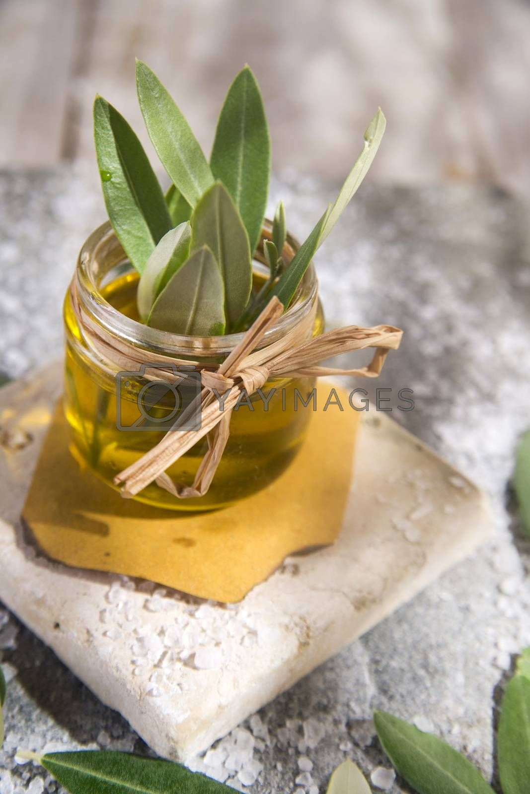 Royalty free image of Small glass jar containing olive oil  by marcoguidiph