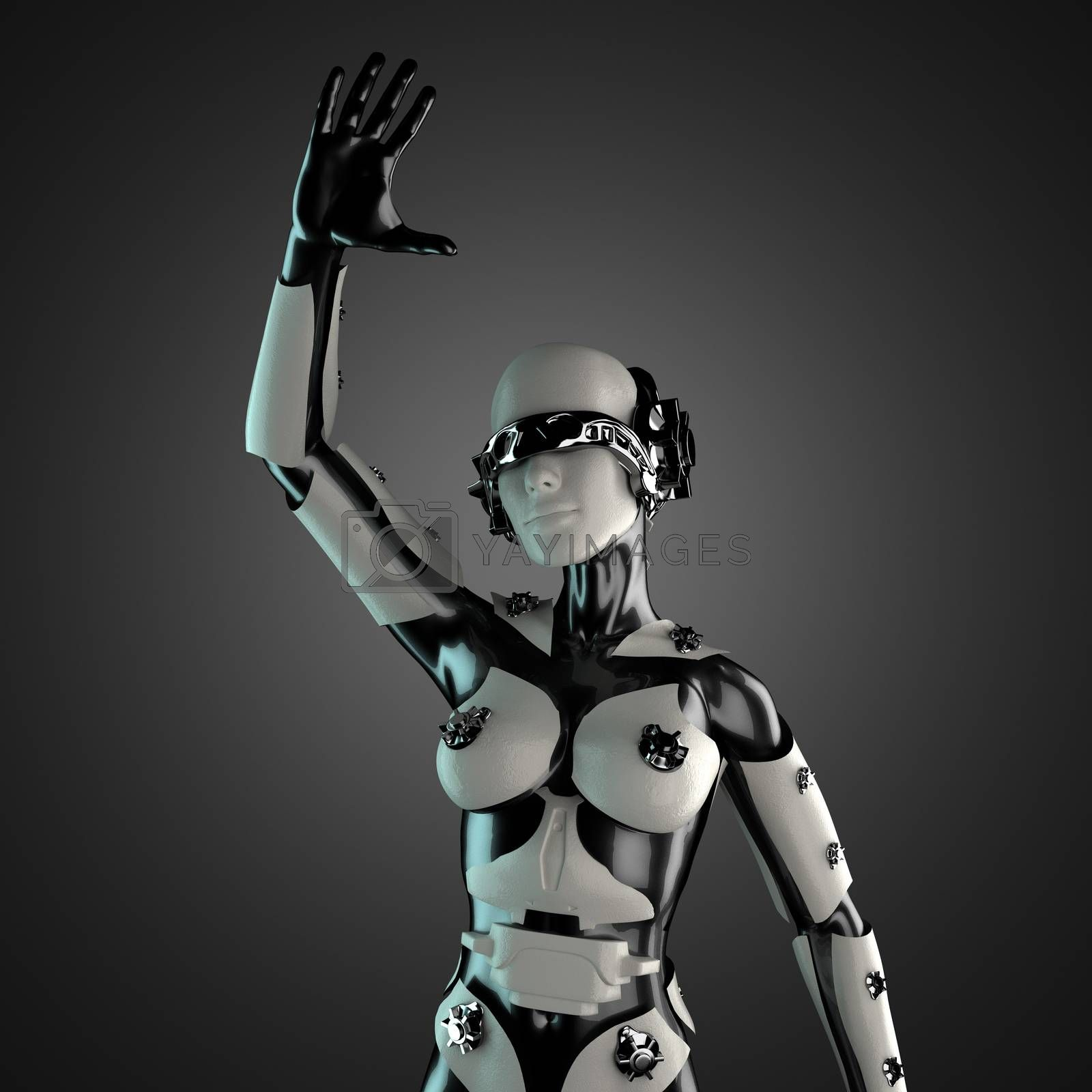 Royalty free image of woman robot of steel and white plastic by videodoctor