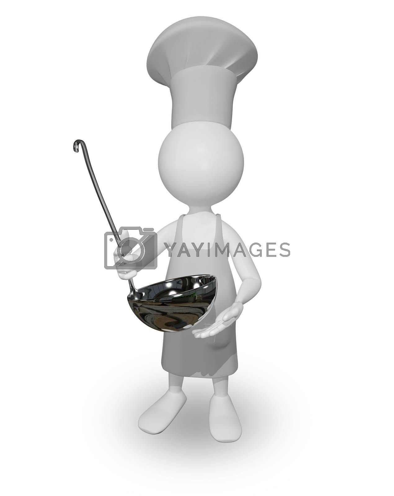 abstract illustration a cook with a ladle