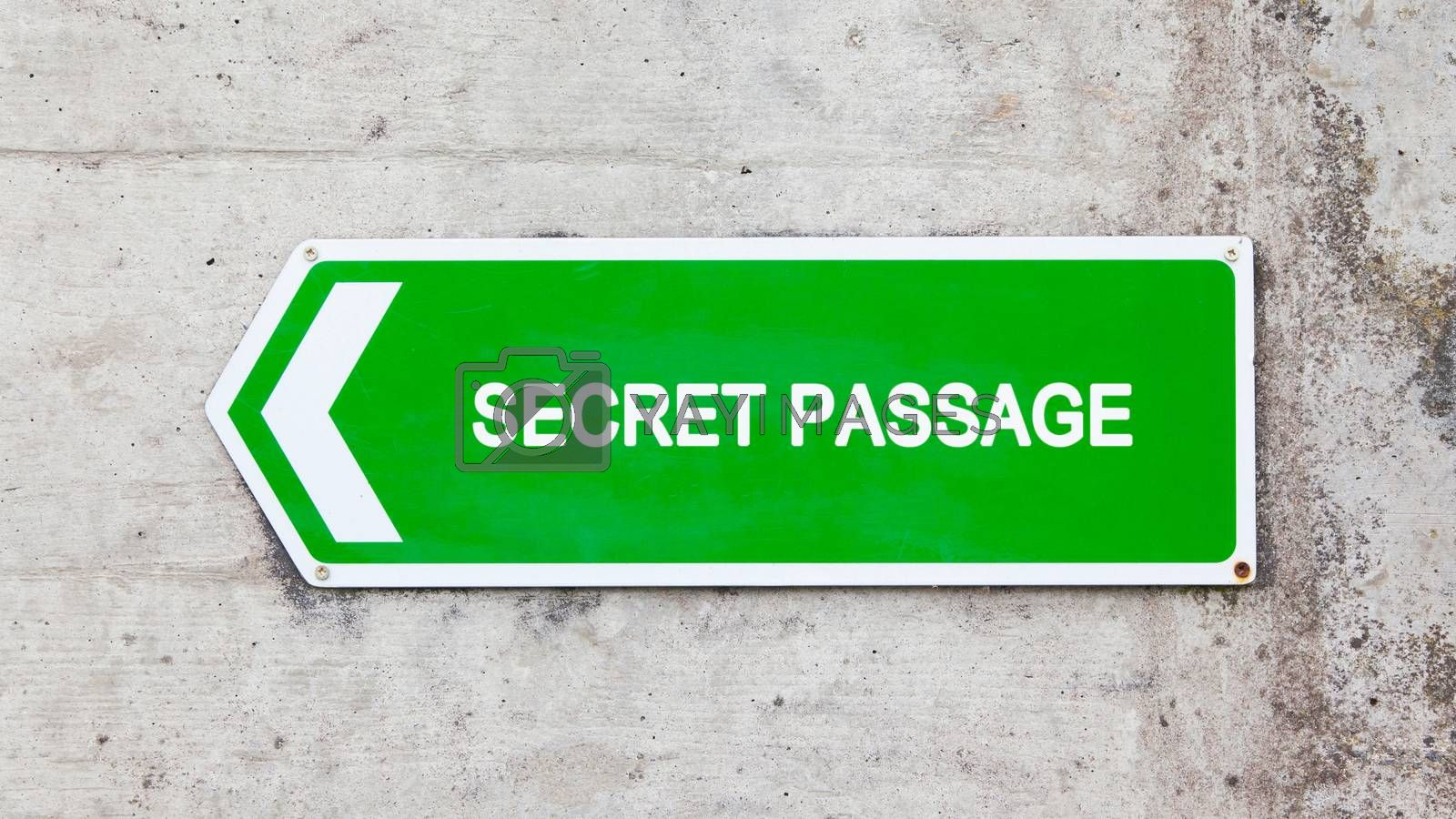 Royalty free image of Green sign - Secret passage by michaklootwijk