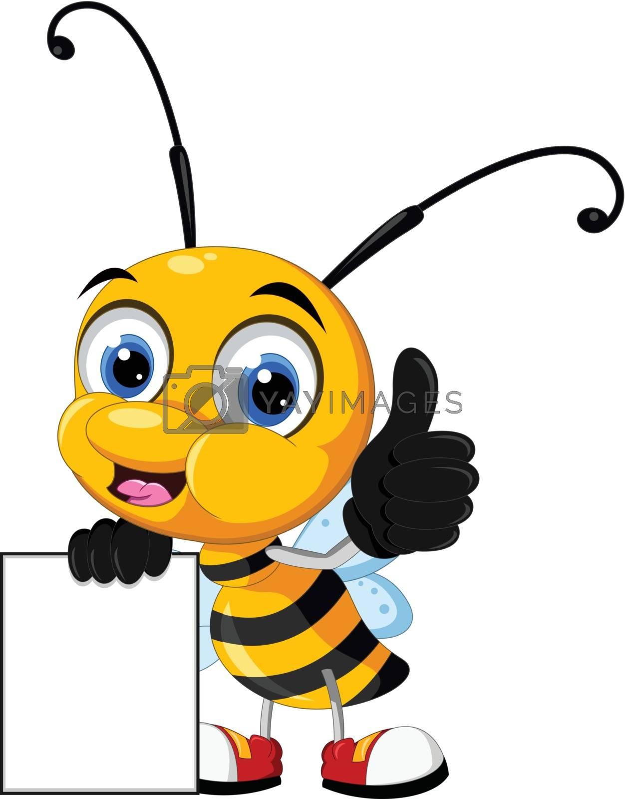 Royalty free image of little bee cartoon holding blank board by sujono