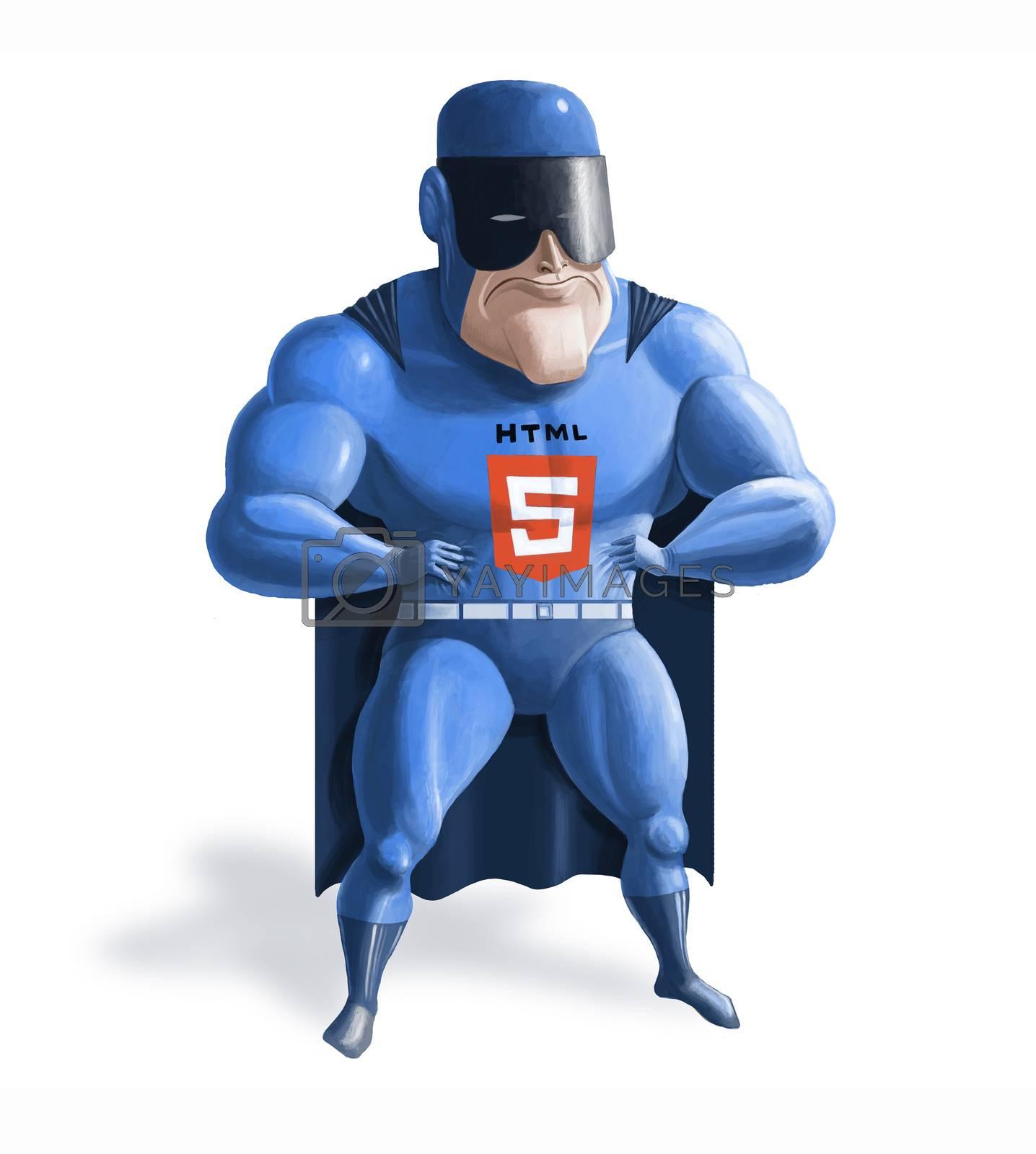 Royalty free image of HTML5 superhero by Kepush