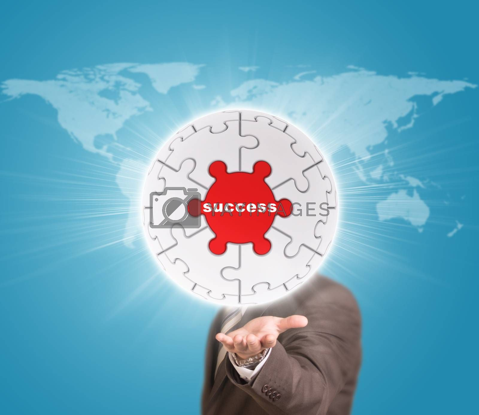 Business man hold puzzle sphere with business label. World map as backdrop