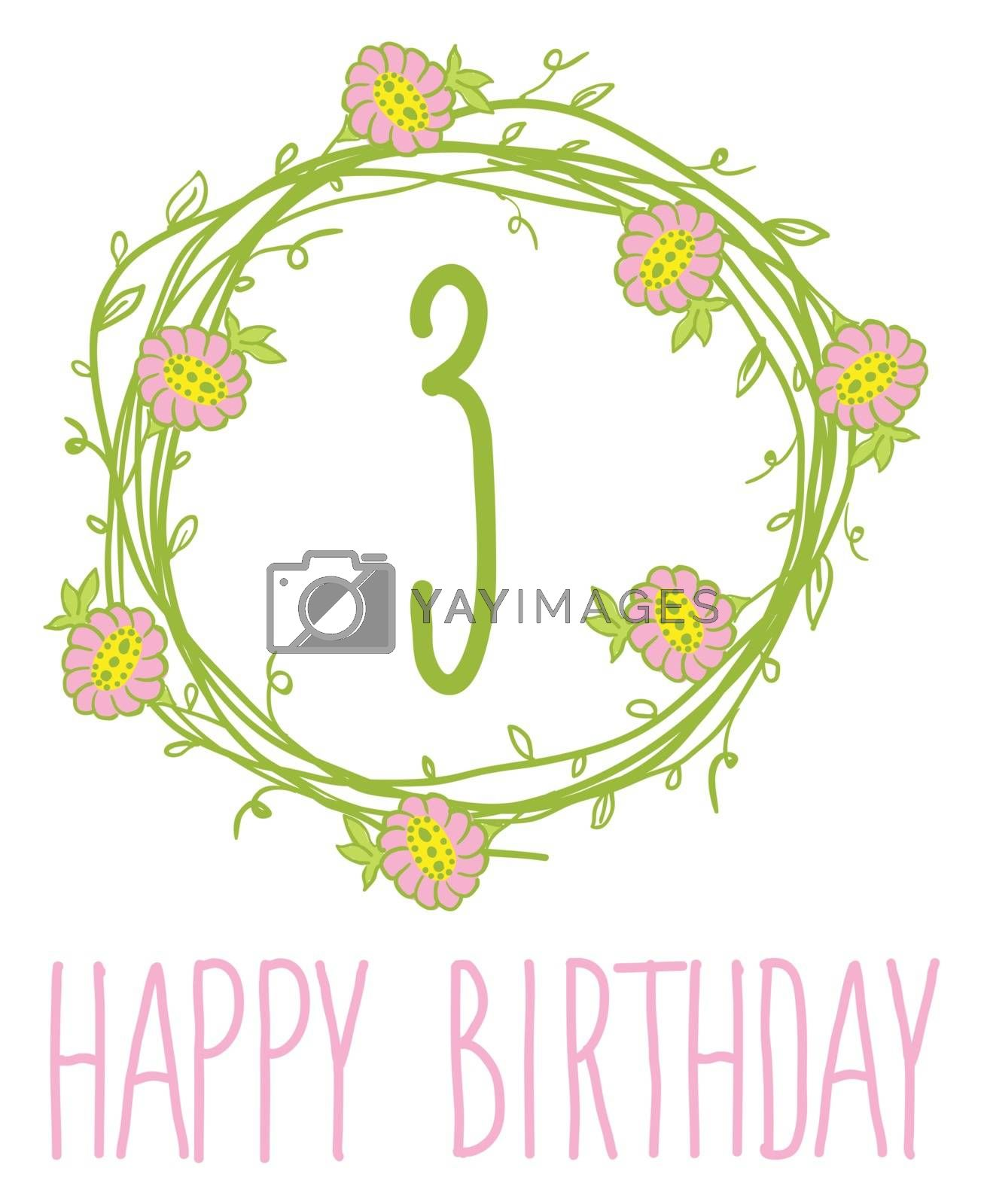 Happy birthday card invitation Set of floral graphic design elements candle number editable