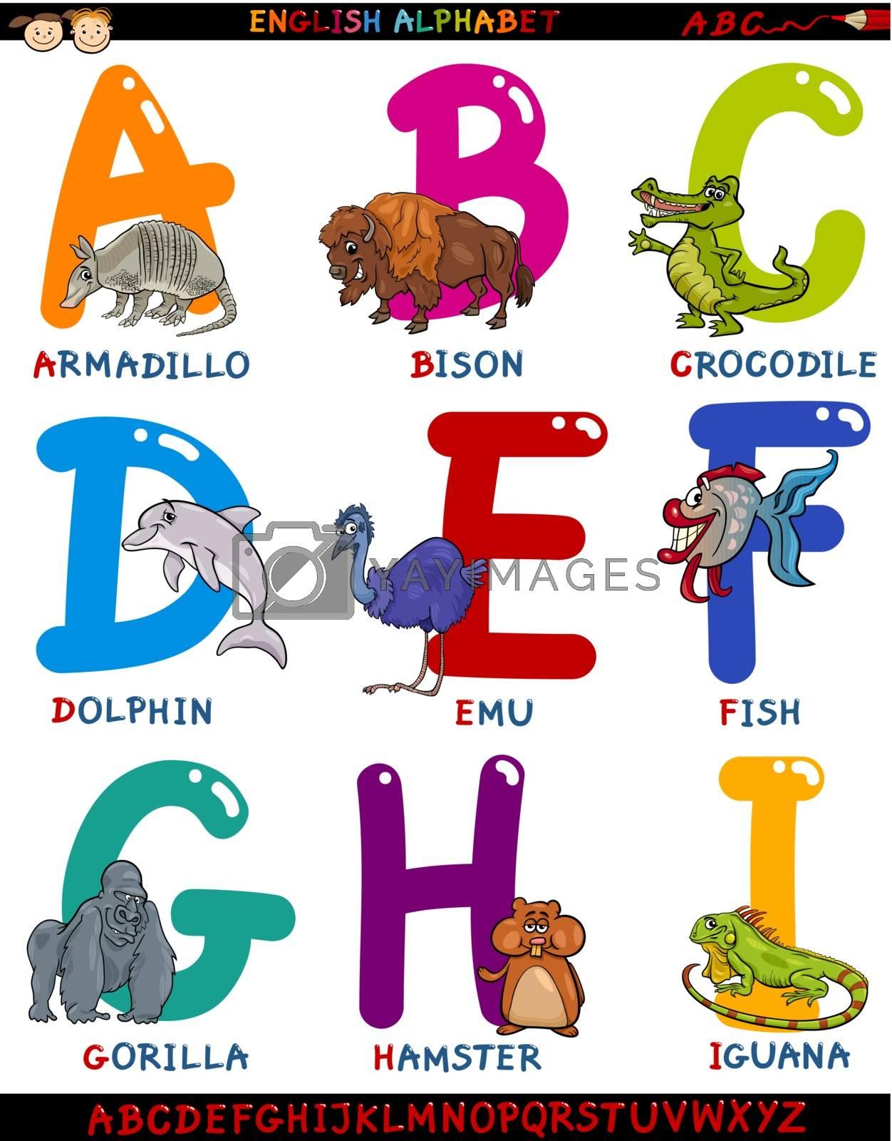 Royalty free image of cartoon english alphabet with animals by izakowski