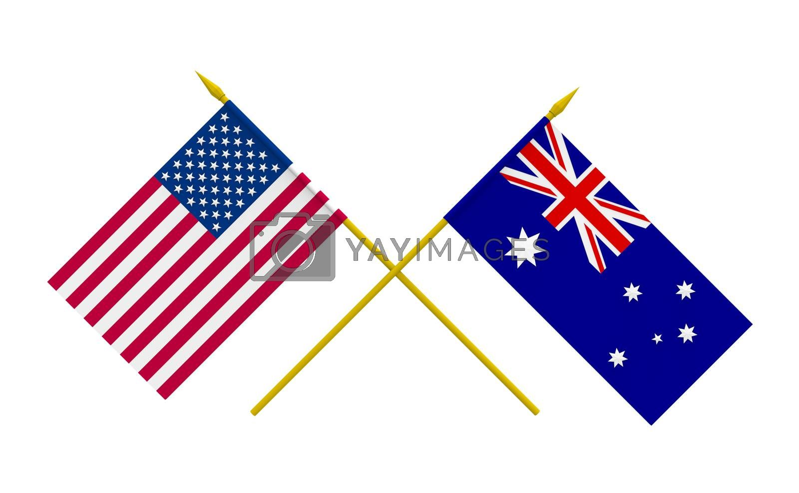 Royalty free image of Flags, Australia and USA by Boris15
