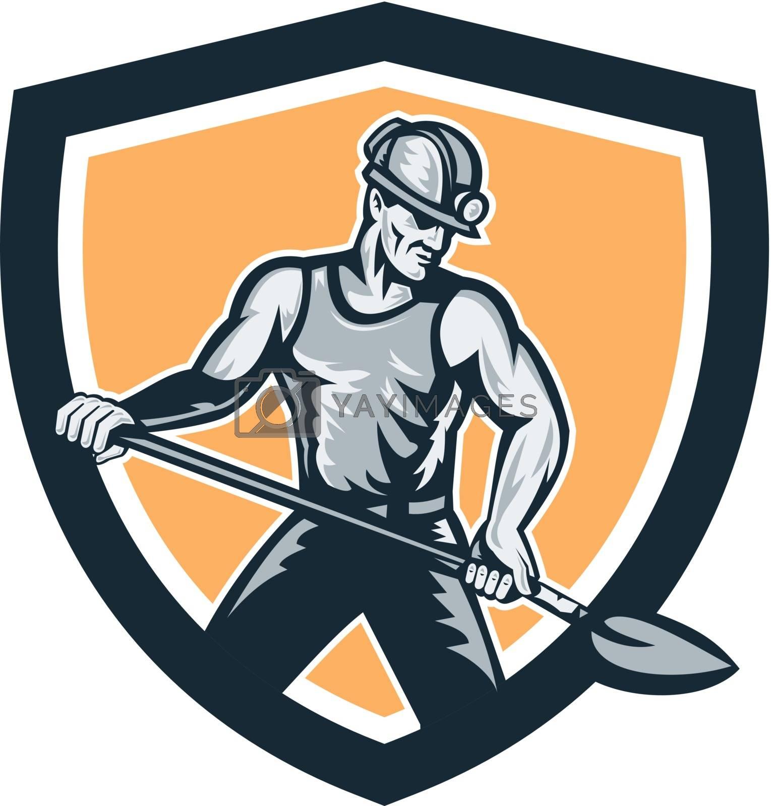 Royalty free image of Coal Miner Hardhat Shovel Shield Retro by patrimonio