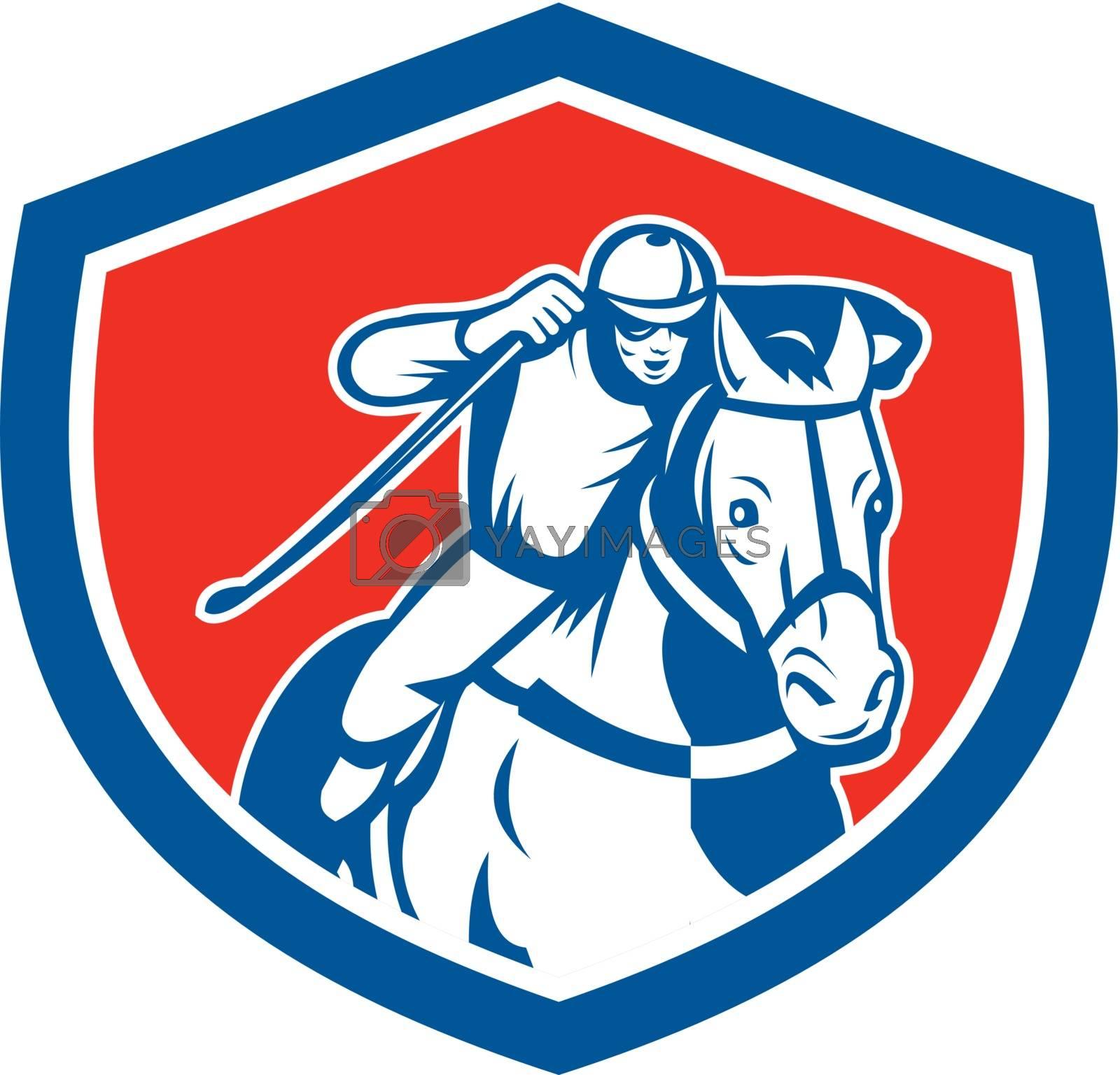 Royalty free image of Horse Racing Jockey Shield Retro by patrimonio