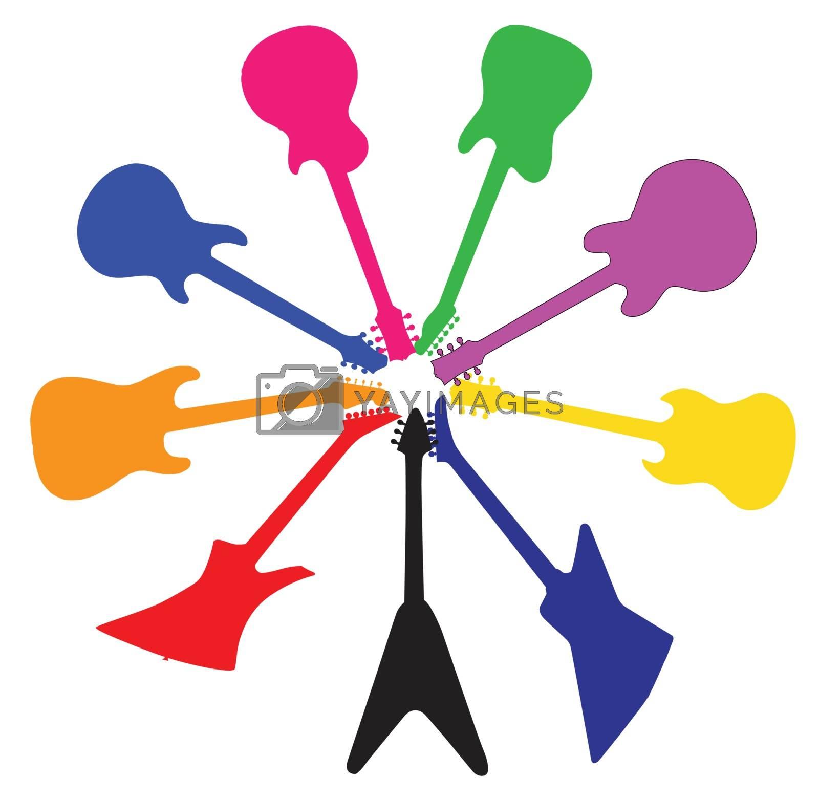 Royalty free image of Circle Of Guitars by Bigalbaloo