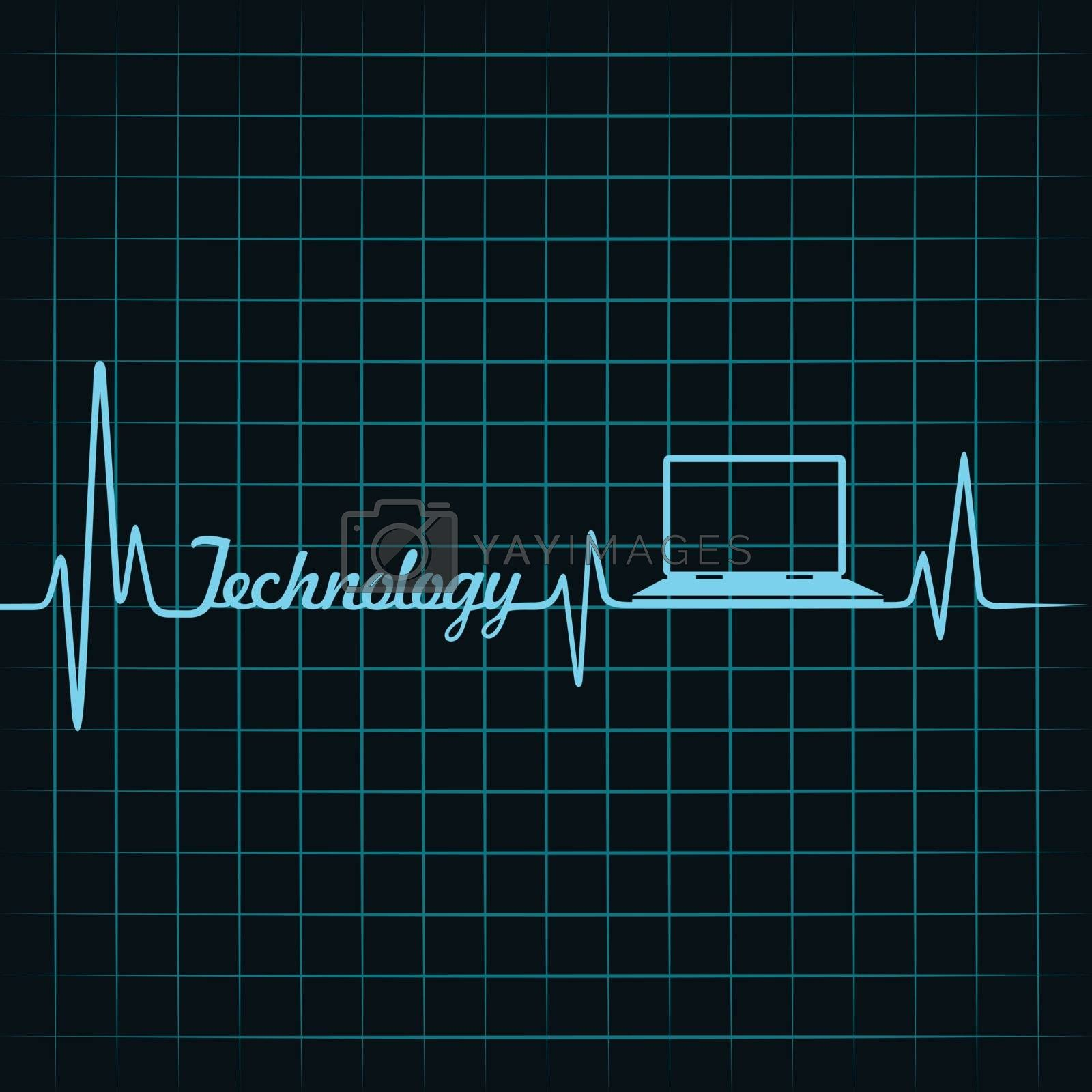 Royalty free image of Medical technology concept -heartbeat laptop icon by graphicsdunia4you