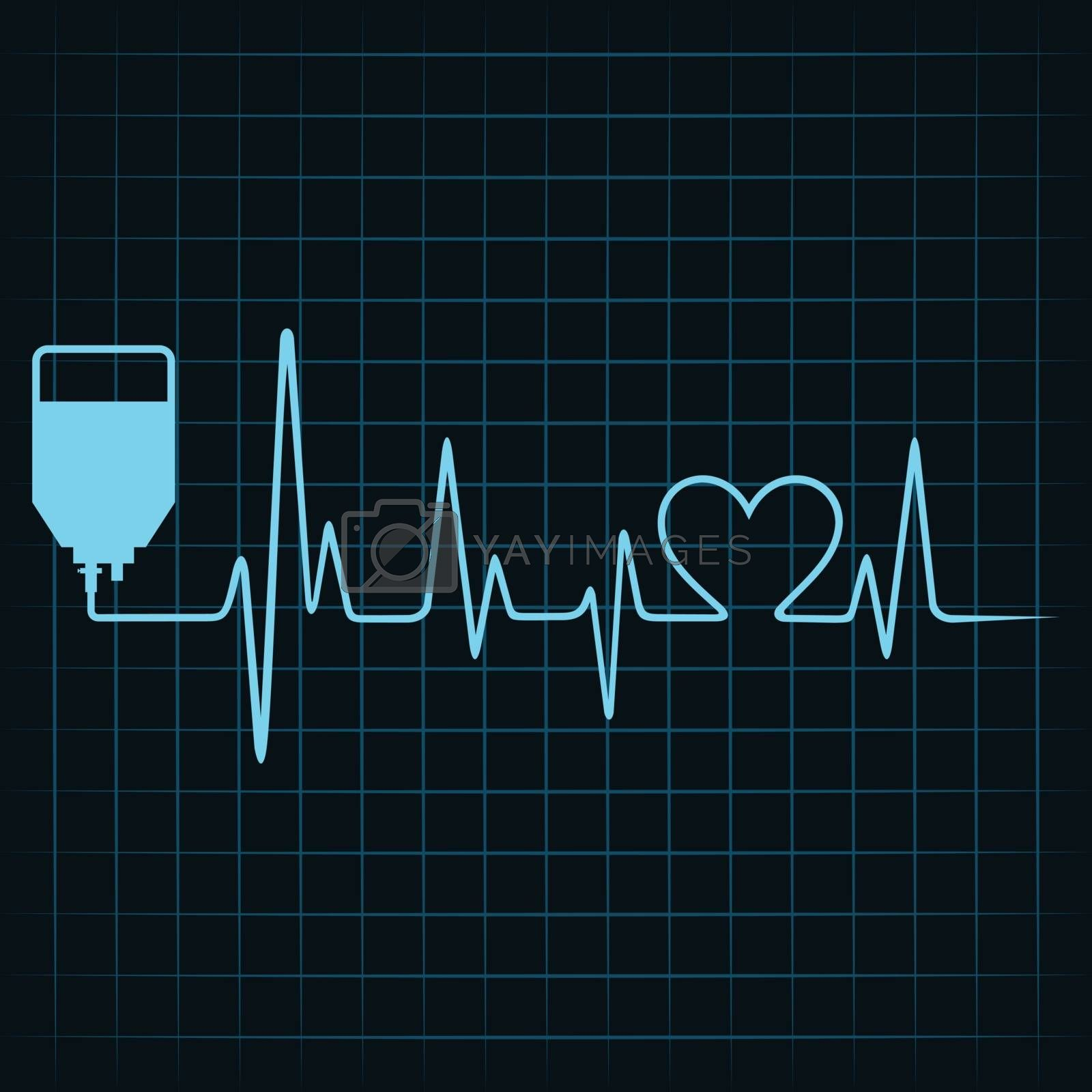 Royalty free image of Blood donation concept with heartbeat by graphicsdunia4you
