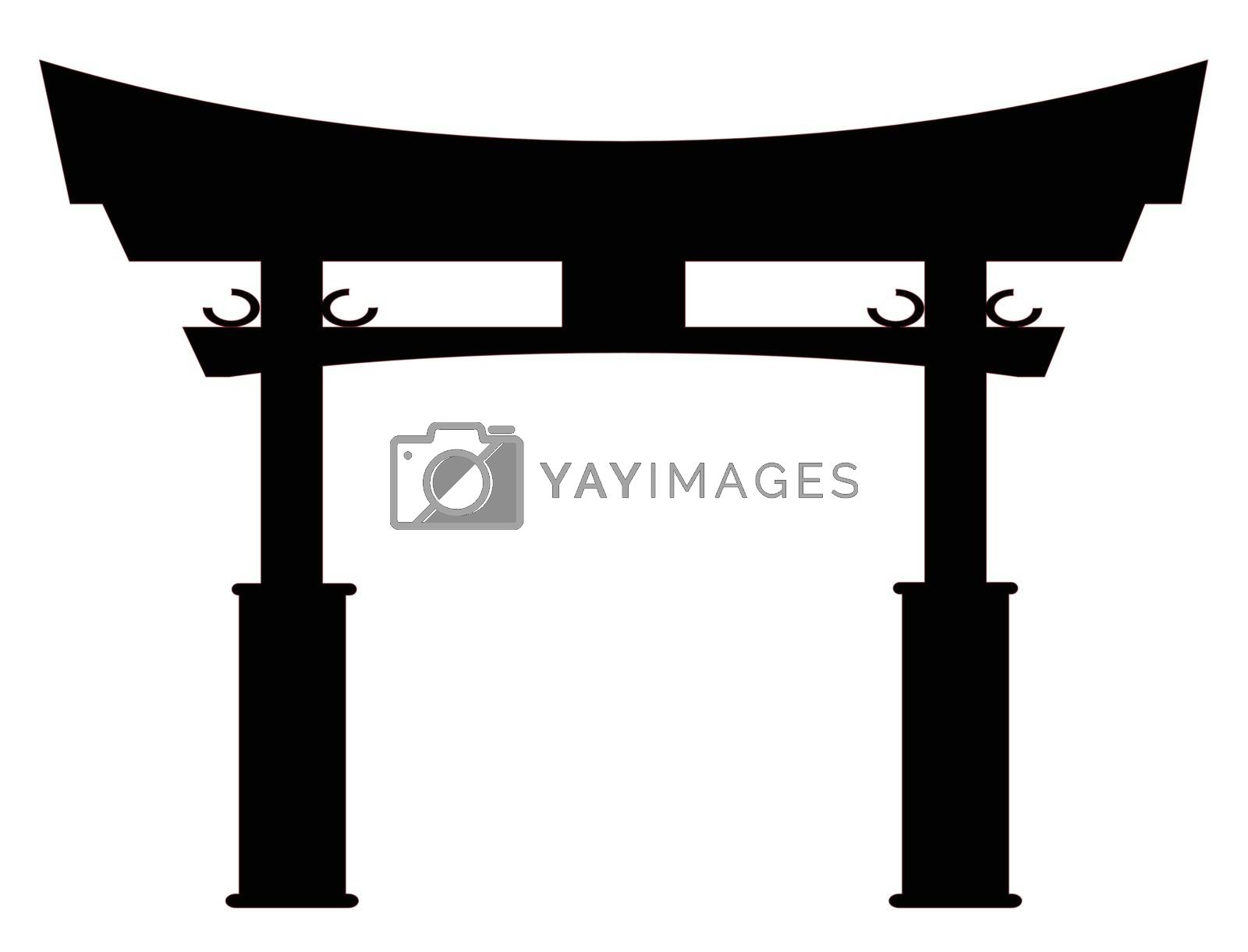 Royalty free image of Tori Gate Silhouette by Bigalbaloo
