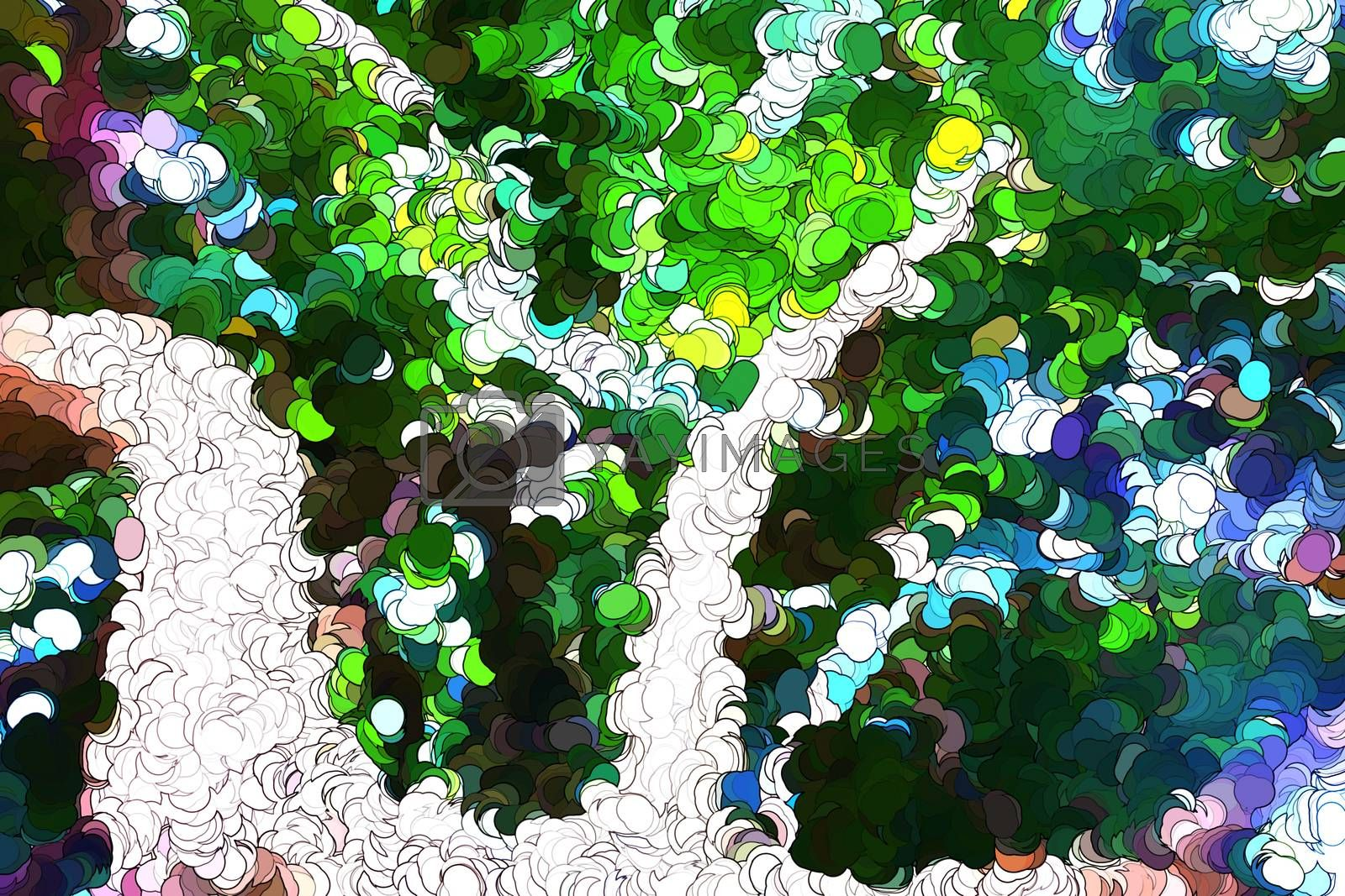 Royalty free image of Tree leaves abstract painting by Nonneljohn