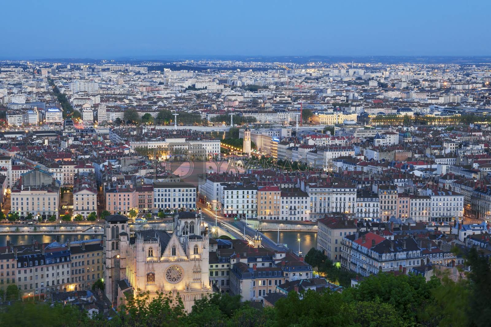 Royalty free image of View of Lyon city from Fourviere at night by vwalakte
