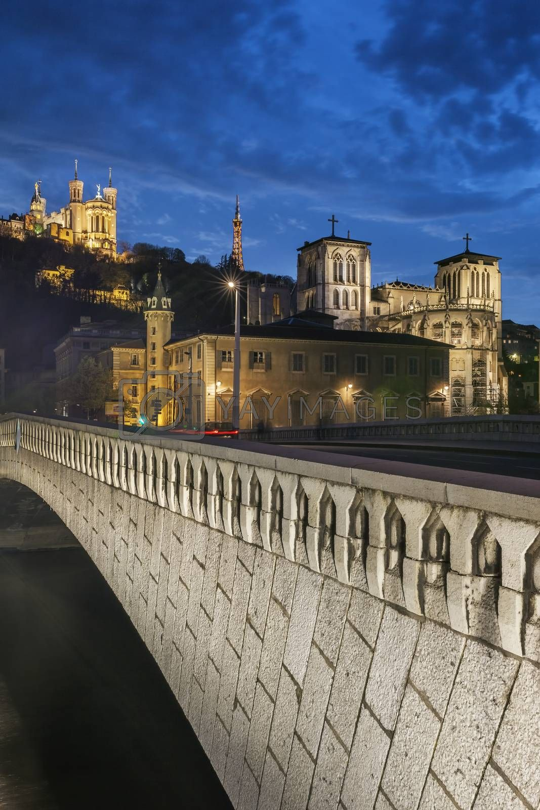 Royalty free image of night view from Lyon city by vwalakte
