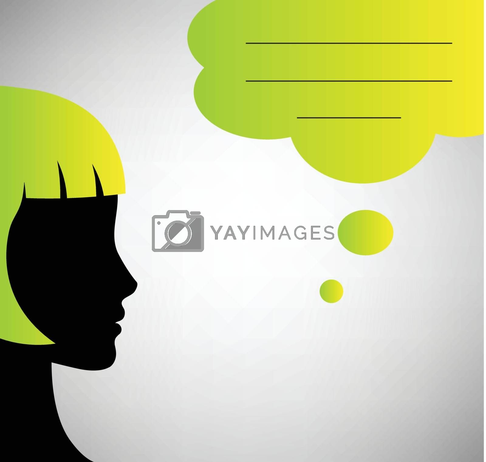Abstract speaker silhouette with speech bubble isolated on gray background