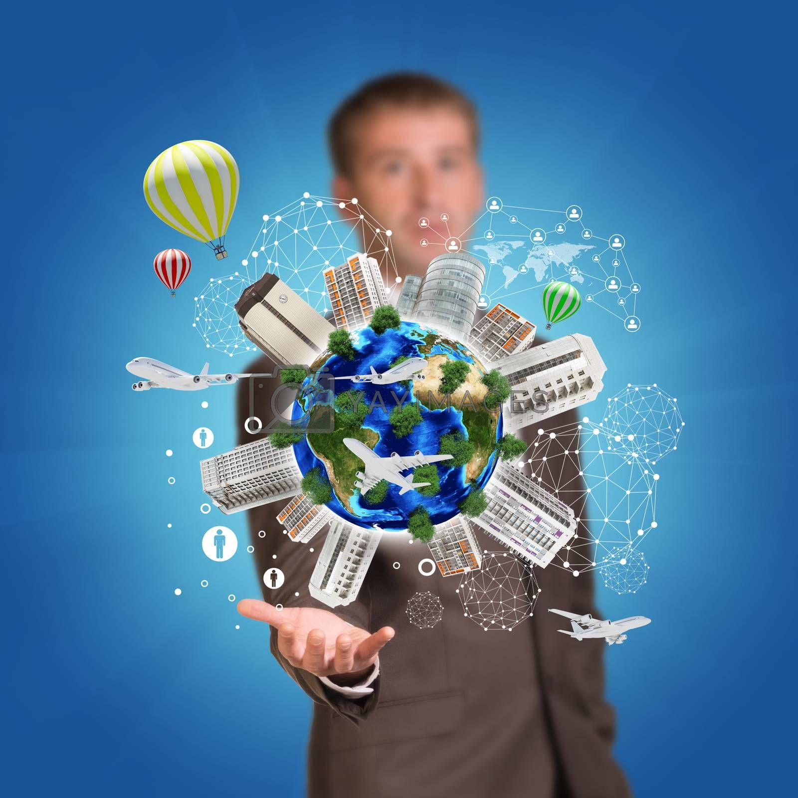 Business man hold Earth with buildings on surface. Airplane and network icons. Elements of this image are furnished by NASA