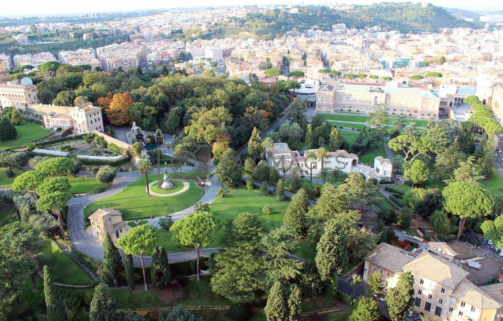 Royalty free image of Aerial view of Vatican Gardens, Rome by aamulya