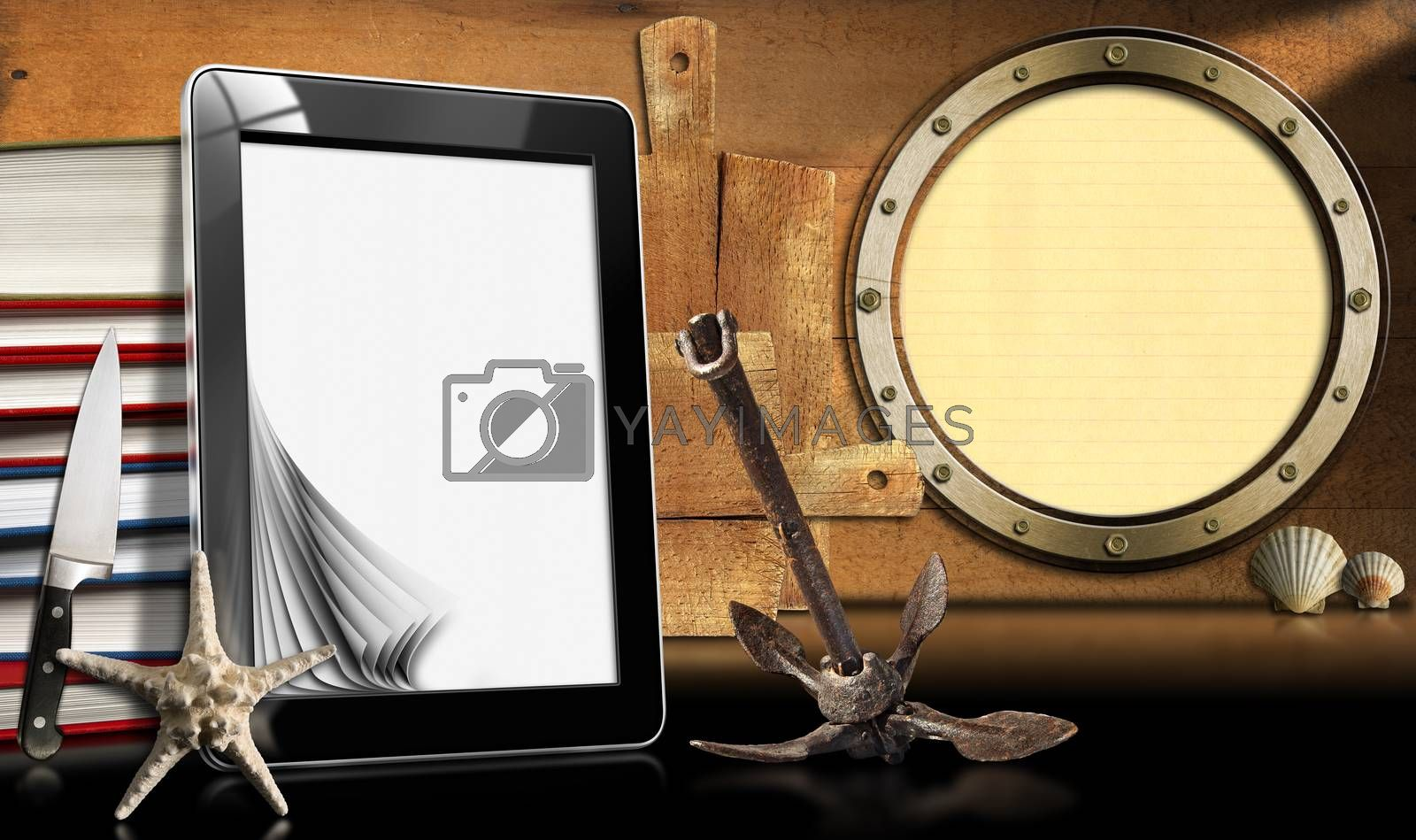 Tablet computer with blank pages and books on wooden wall with porthole, seashells, rusty anchor, starfish and kitchen utensils. Template for recipes or seafood menu