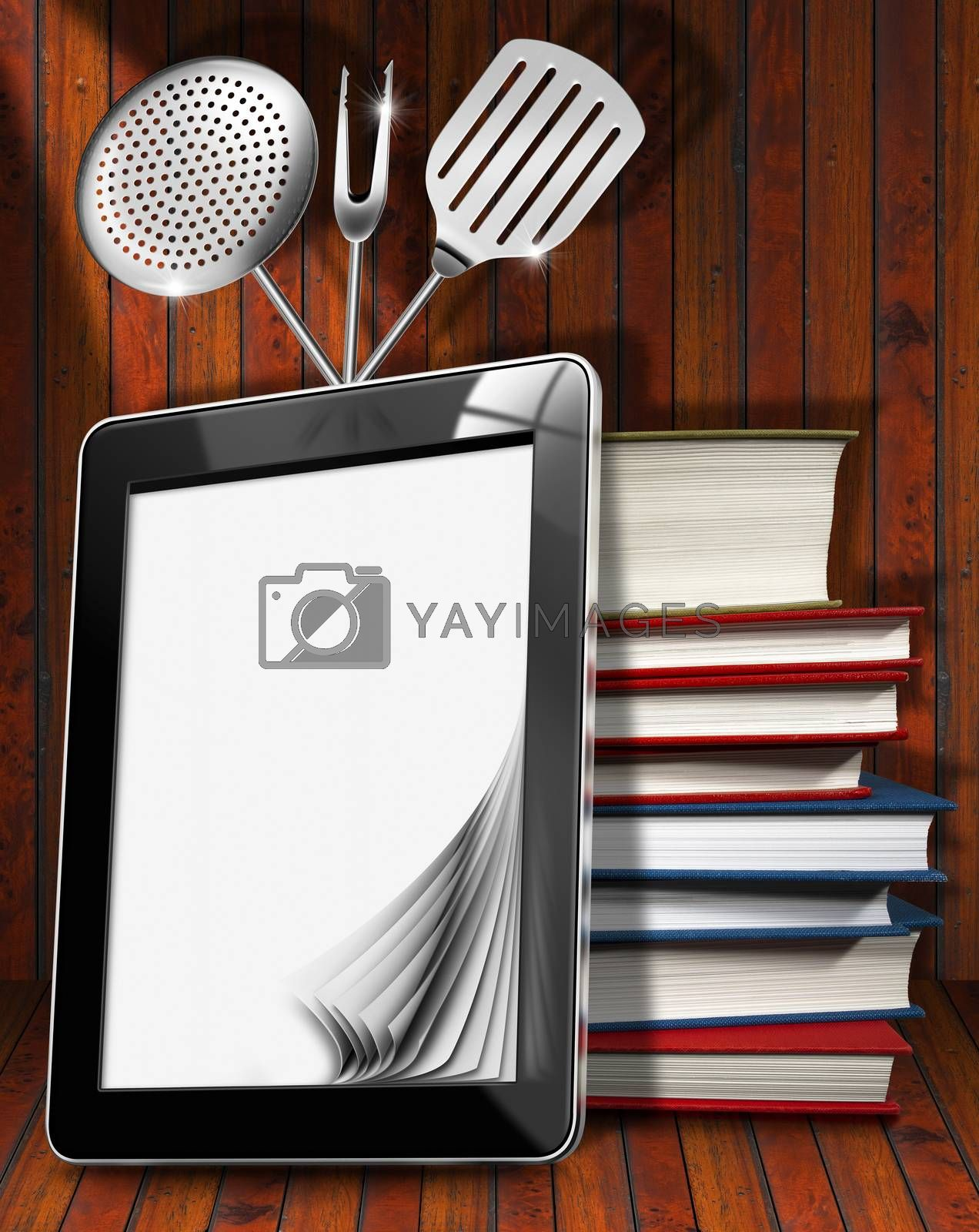 Black tablet computer with blank pages and stack of books in a kitchen, on wooden wall with kitchen utensils. For a digital recipes or menu