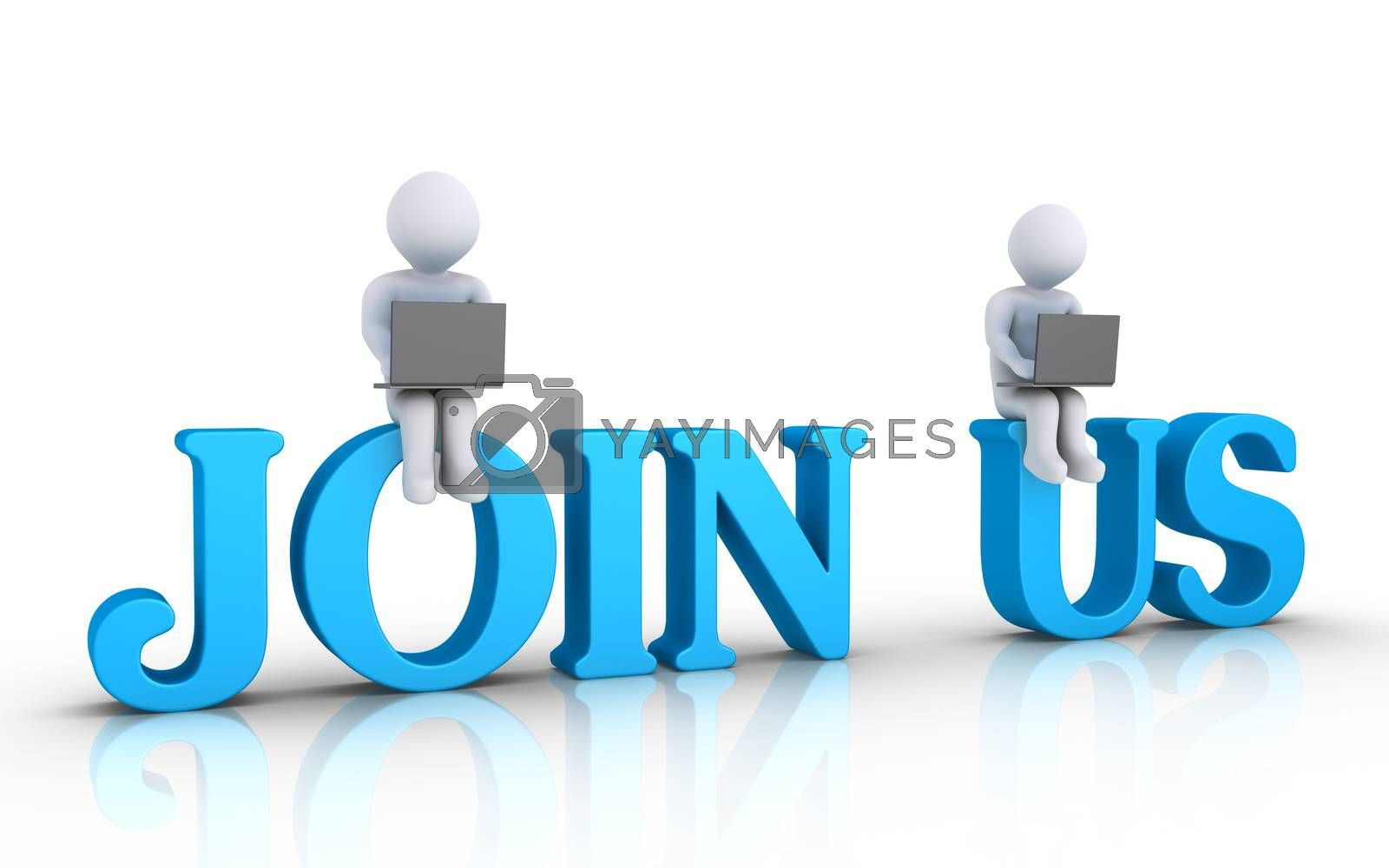 Two 3d people with laptops are sitting on JOIN US letters