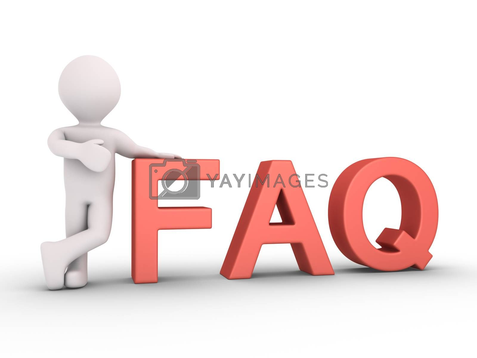 3d person is leaning to FAQ letters