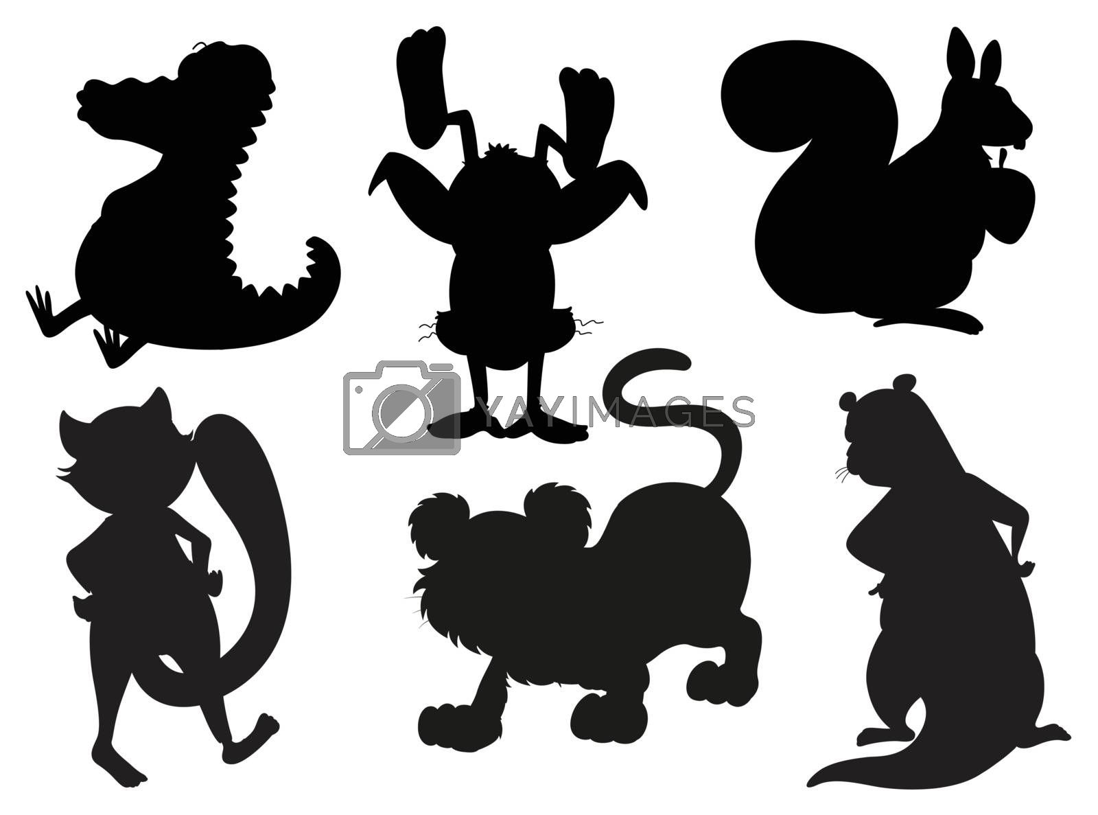 Illustration of the silhouettes of animals in gray and black colors on a white background