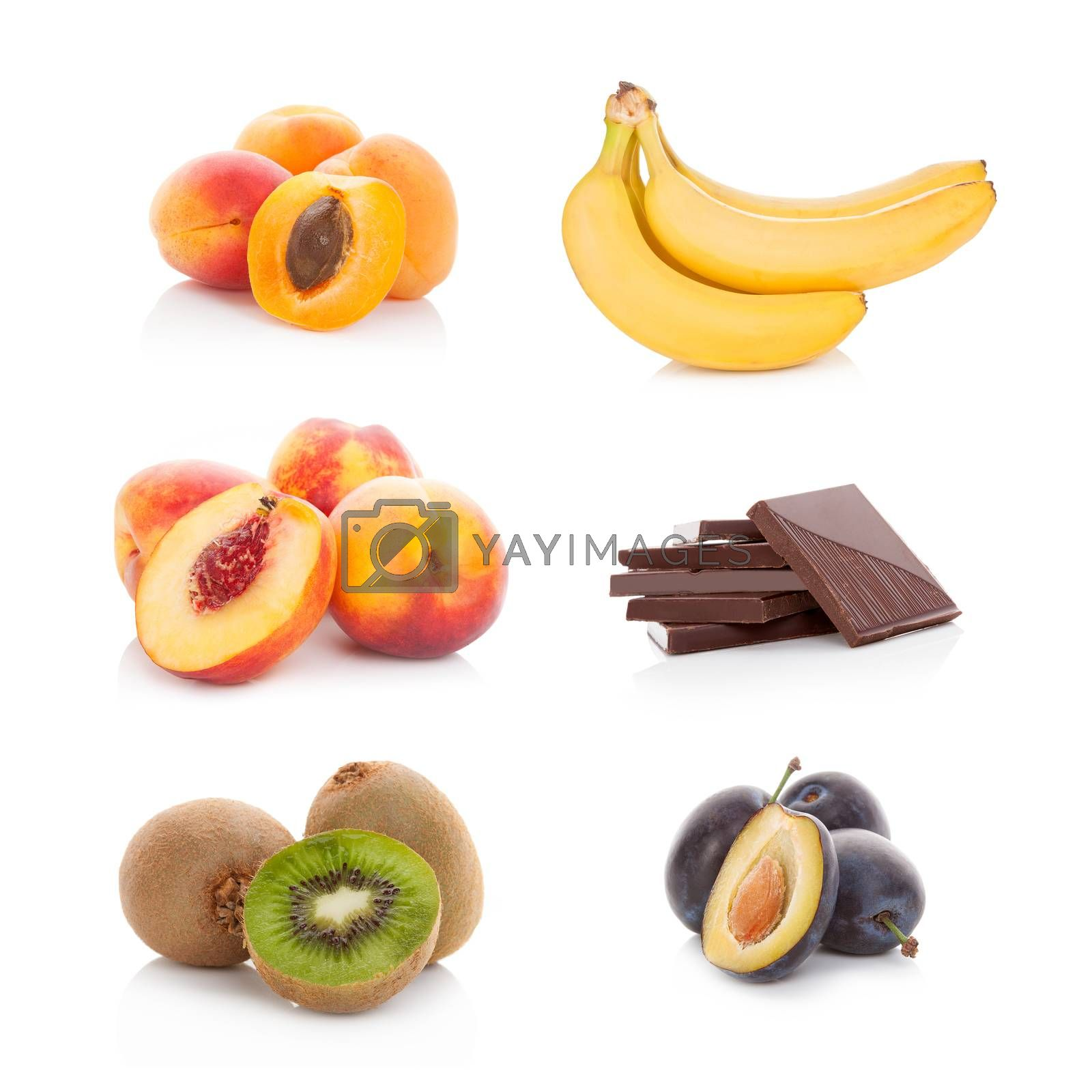 Various fruits isolated on white background. Healthy fruit eating.