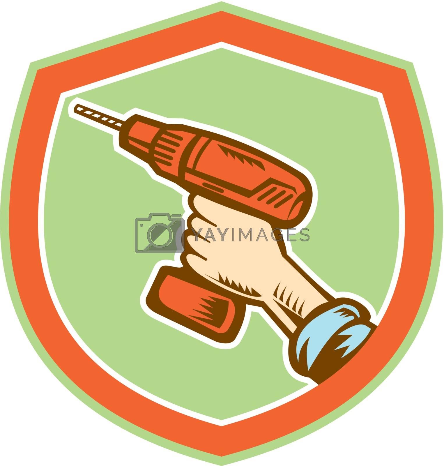 Royalty free image of Handyman Hand Holding Cordless Drill Retro by patrimonio