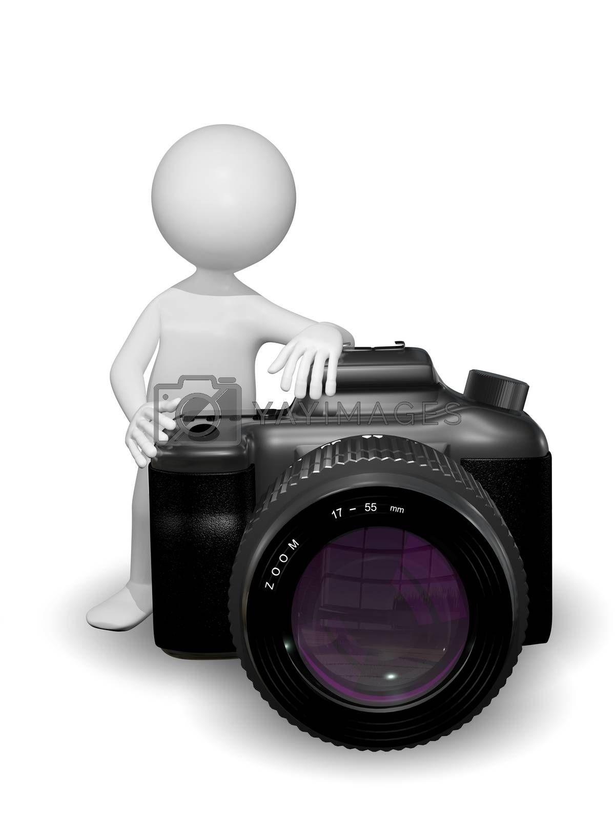 illustration abstract white man with a camera