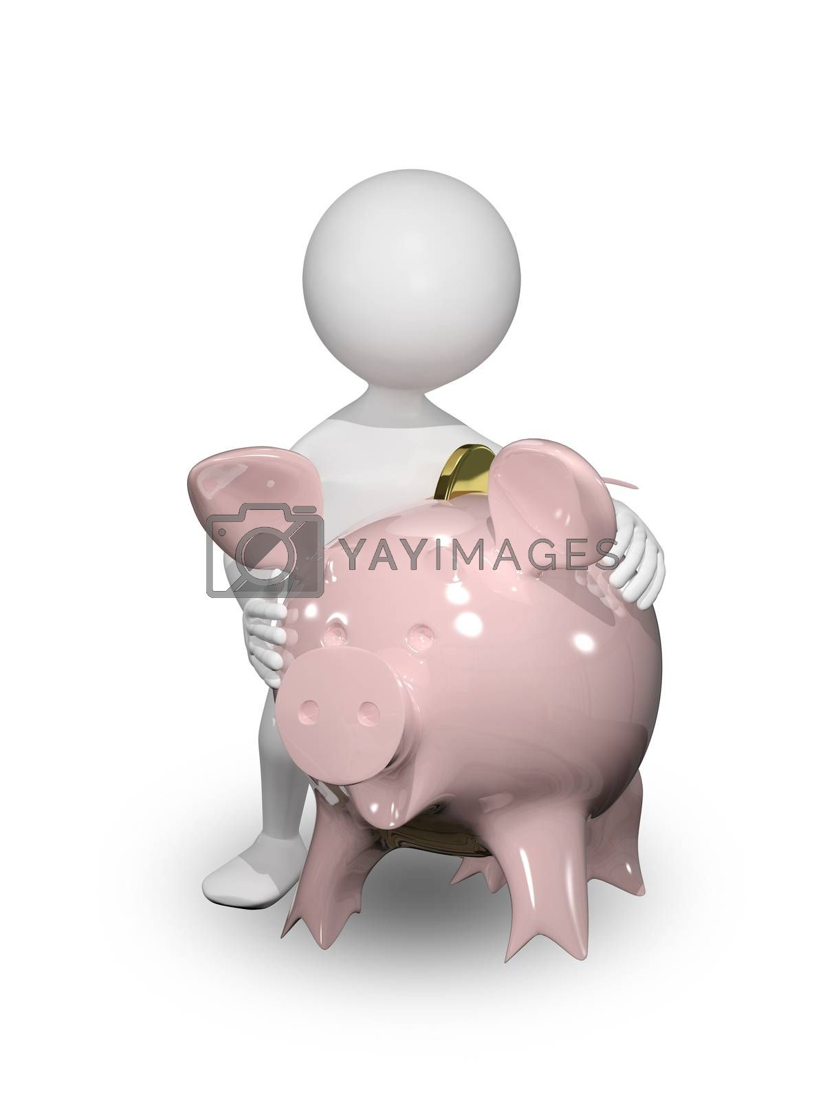 illustration of a man with piggy bank