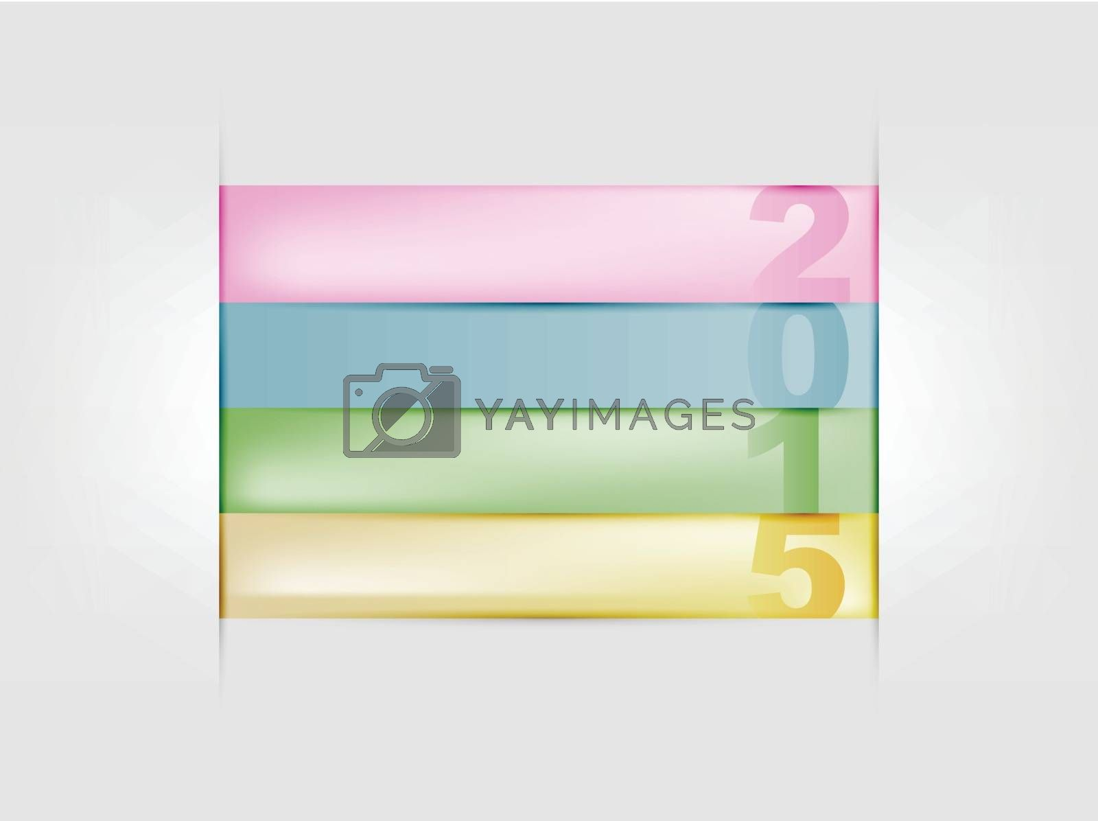 Happy new year 2015 colorful paper strips illustration