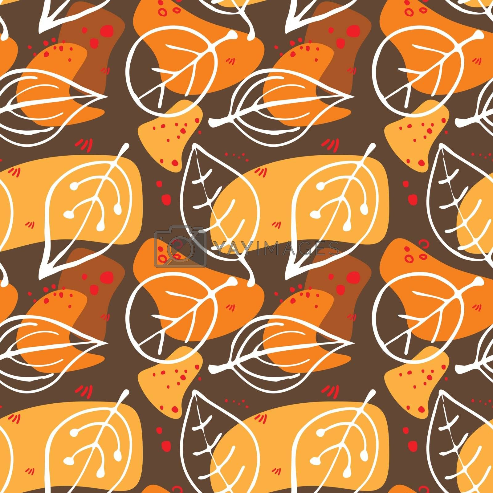 Autumn leaves, vector seamless texture