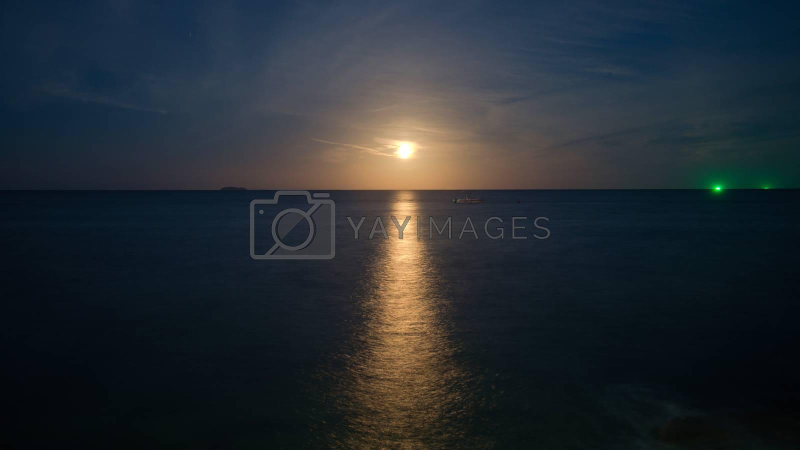 Moon light over the sea