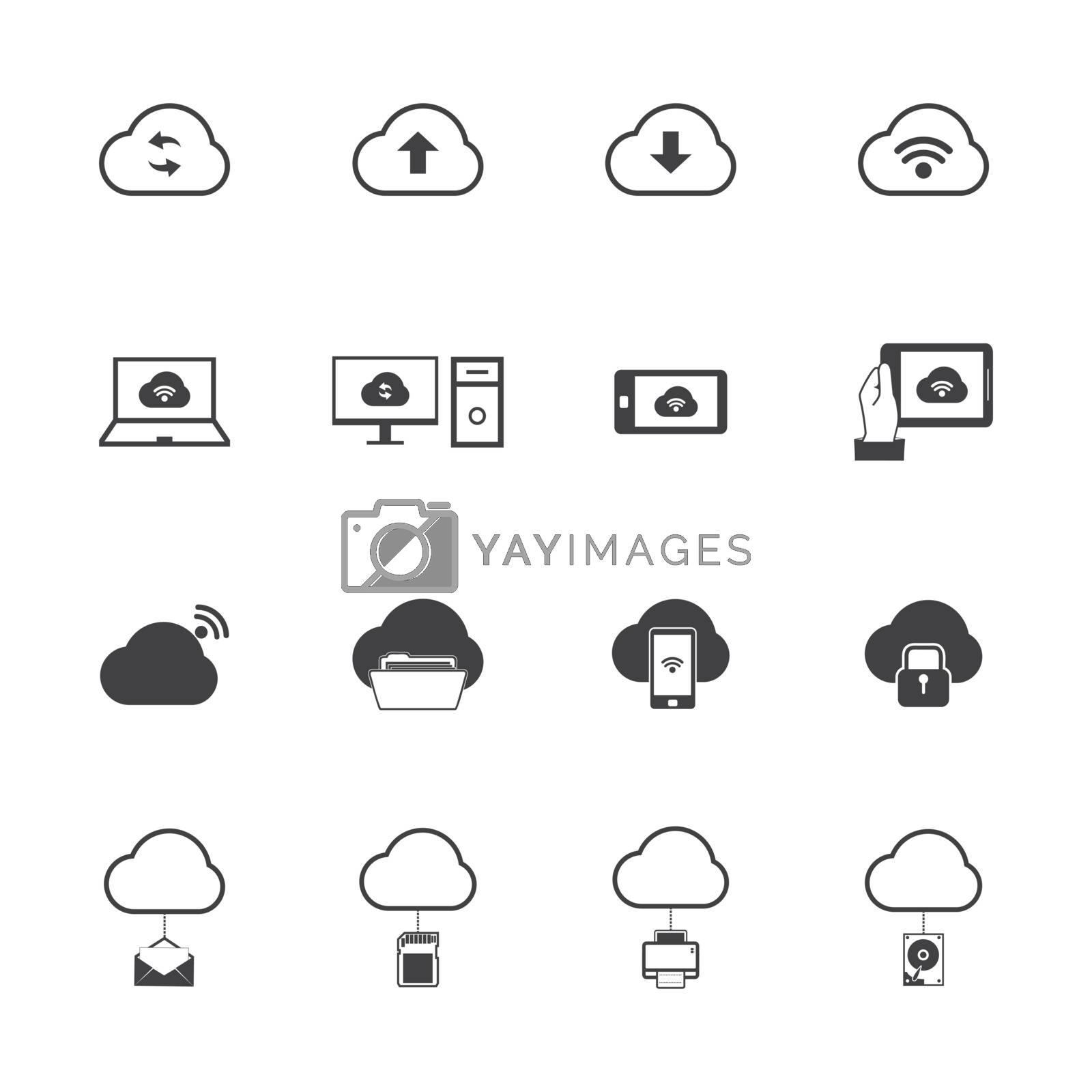 Cloud computing icons set.