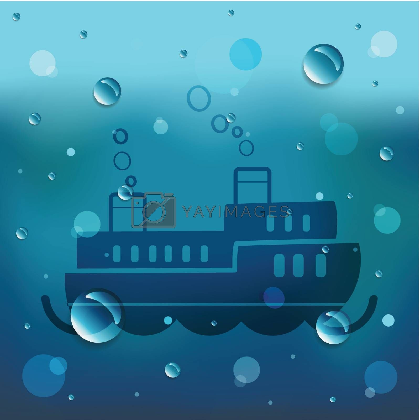 Passenger boat on glass and water drop.EPS10