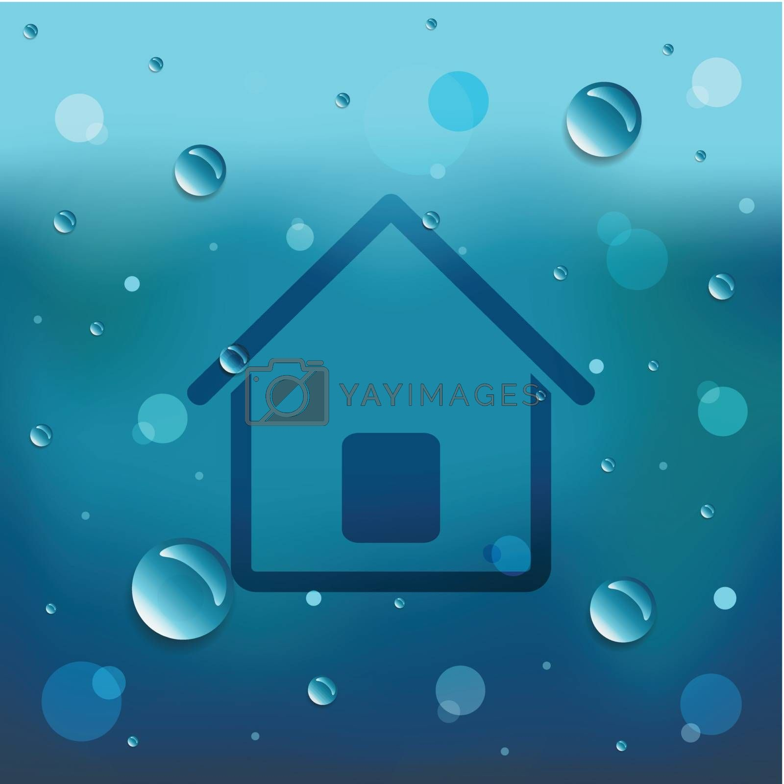 Drawing of home on glass and water drop.EPS10