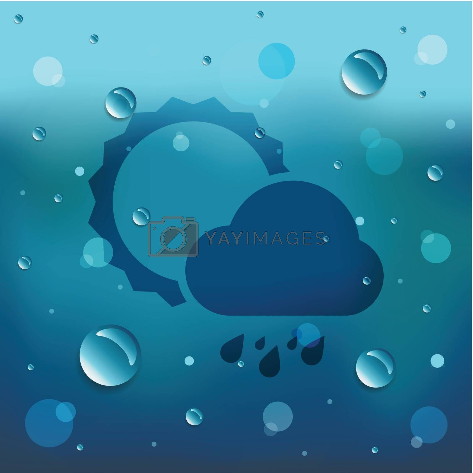 Sun and cloud icon on blue background with many water drop