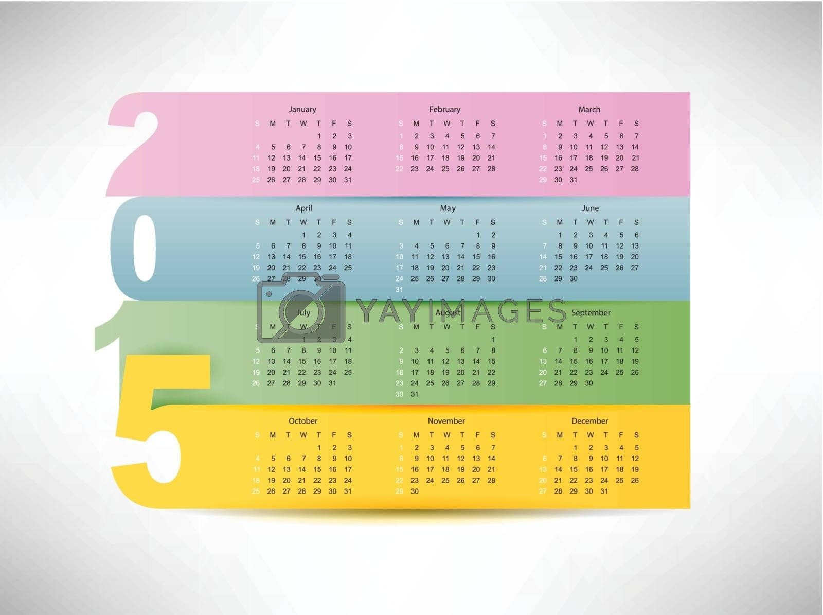 calendar for 2015 year with colorful paper background